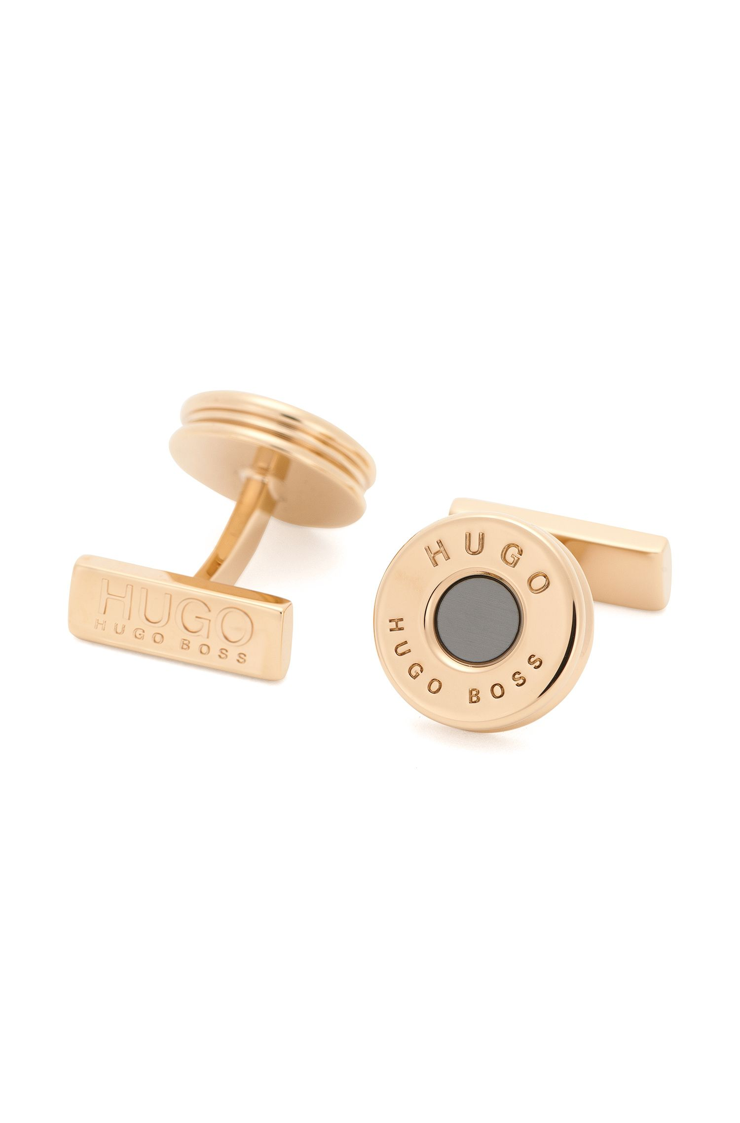 Round cufflinks in gold-look brass: 'E-Bullet'