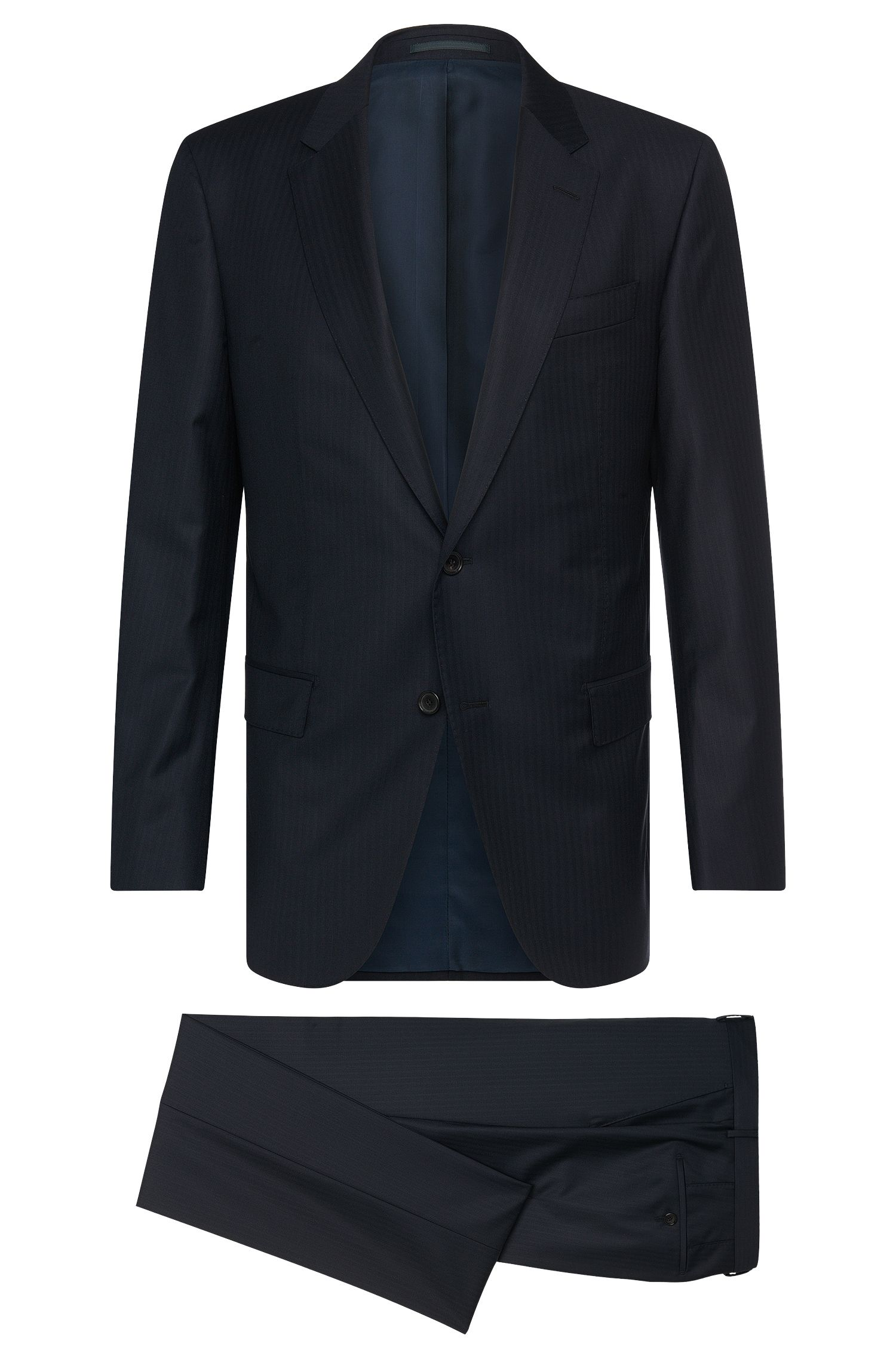 Striped slim-fit suit in new-wool blend with silk: 'F-Jacksen/Lane'