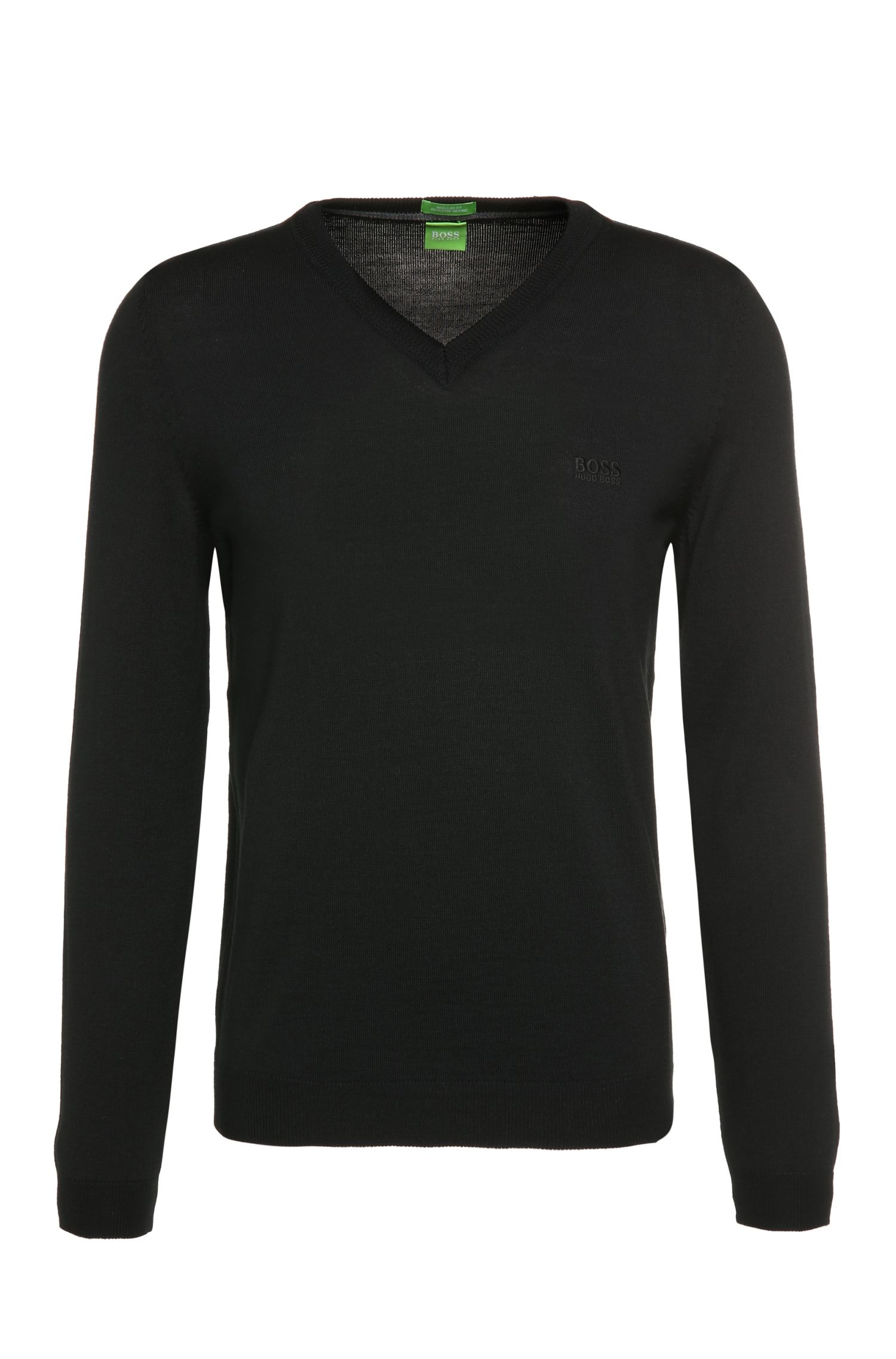 Regular-fit knitted sweater in new wool: 'C-Callum_01'