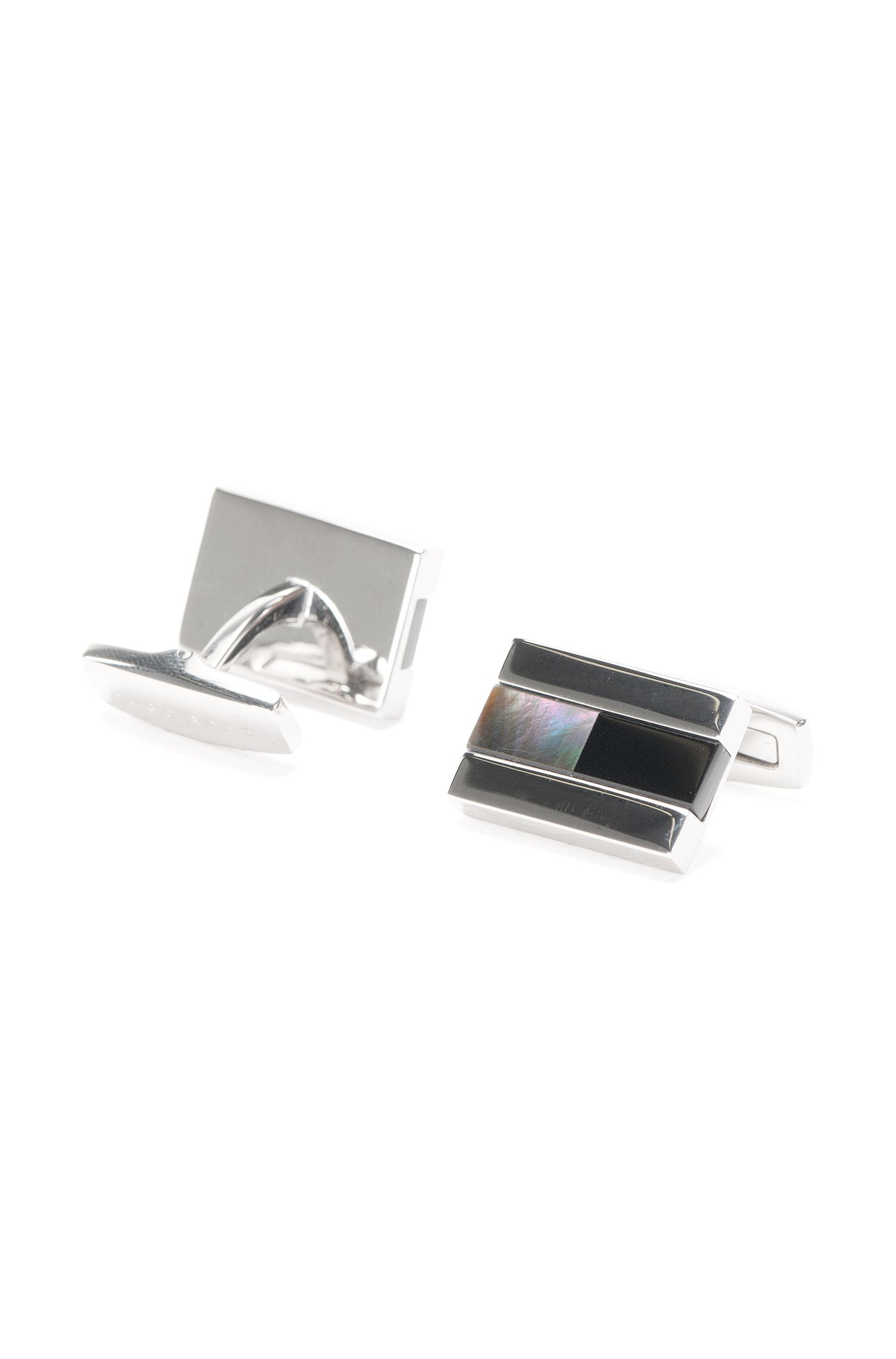 Tailored cufflinks in brass with mother of pearl and onyx details: 'T-Johann'