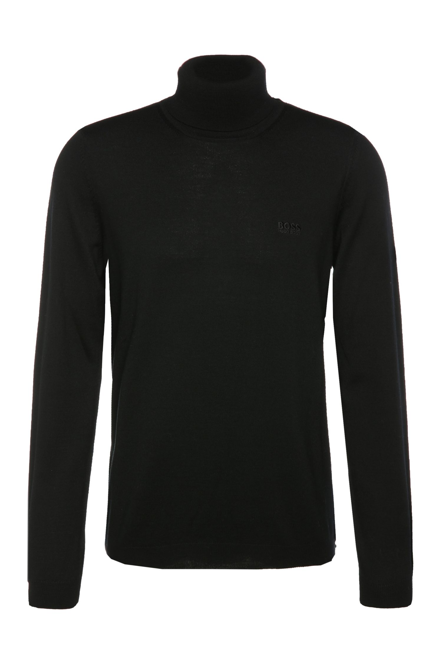 Regular-fit polo neck sweater in new wool: 'C-Calvin_01'