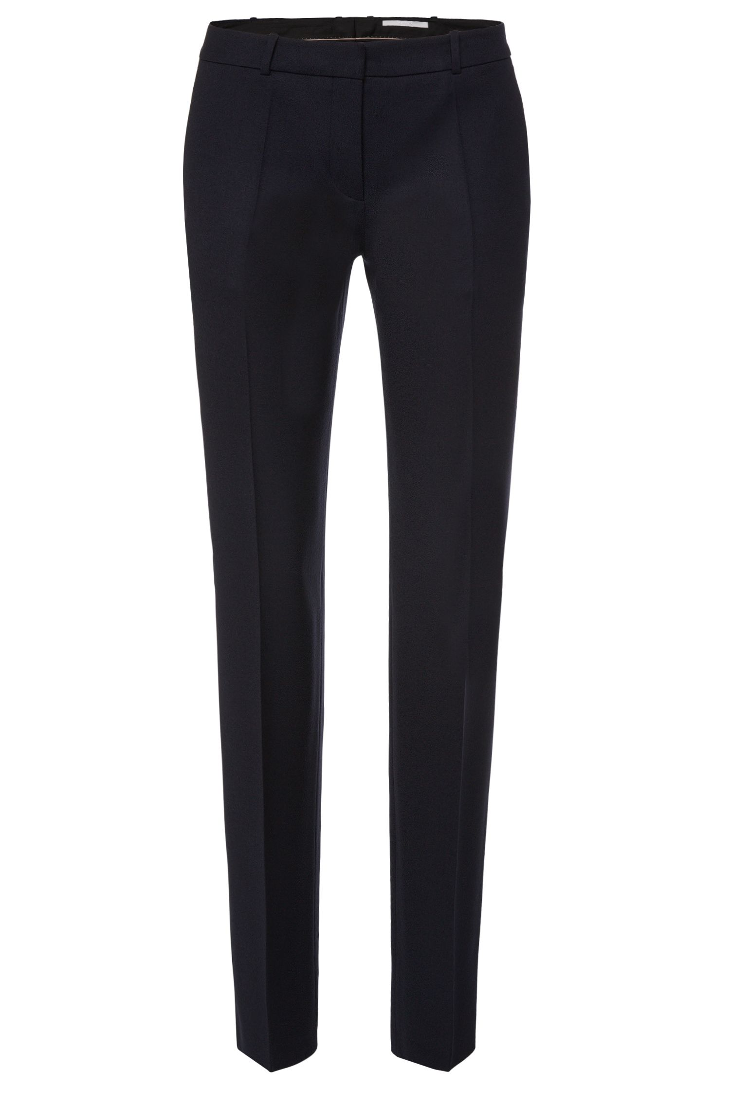 Standard-fit trousers in stretch new wool with pressed creases: 'Tamea!'