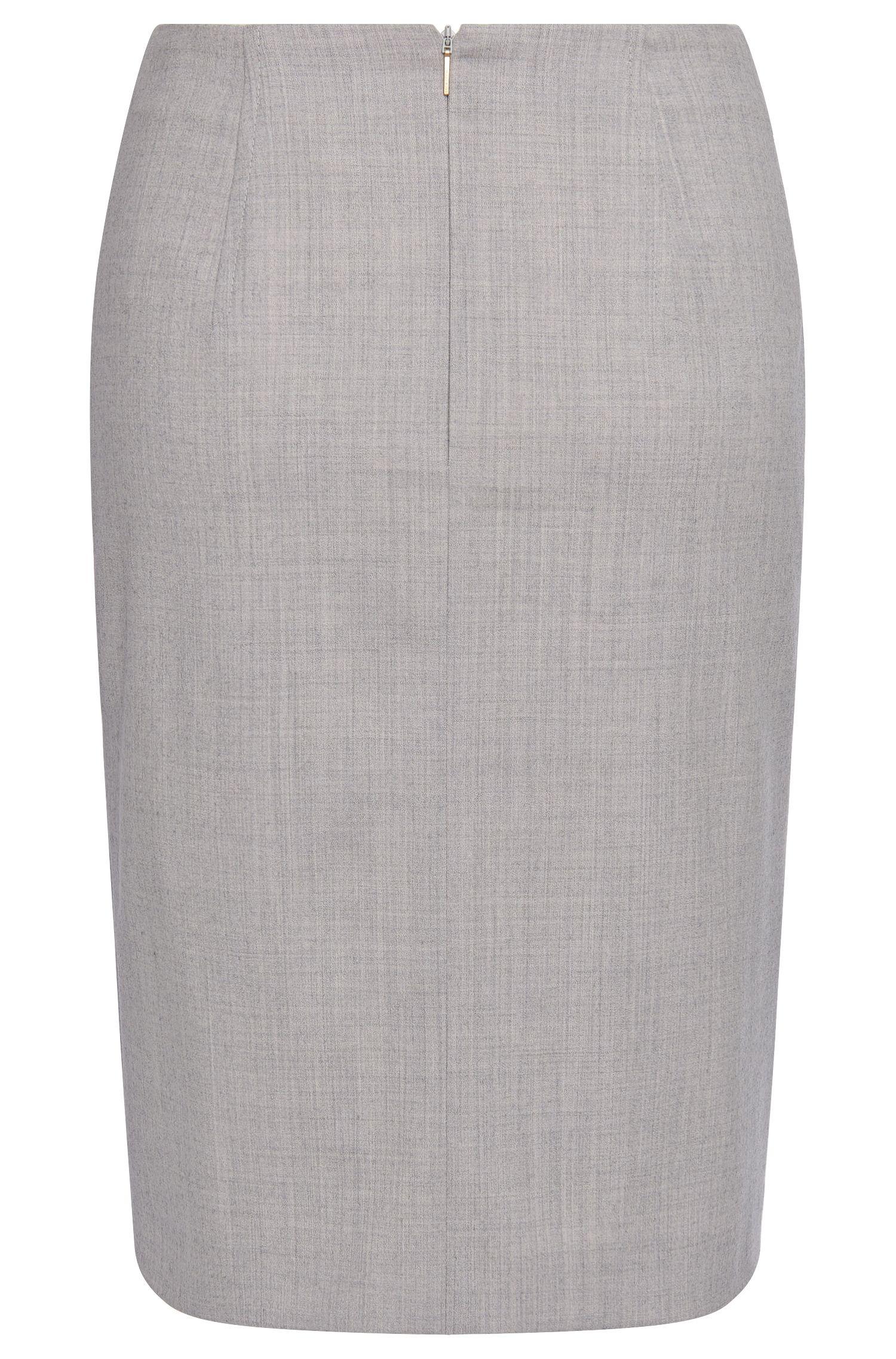 Jupe crayon au motif chiné raffiné, en laine vierge stretch: «Vyflena»