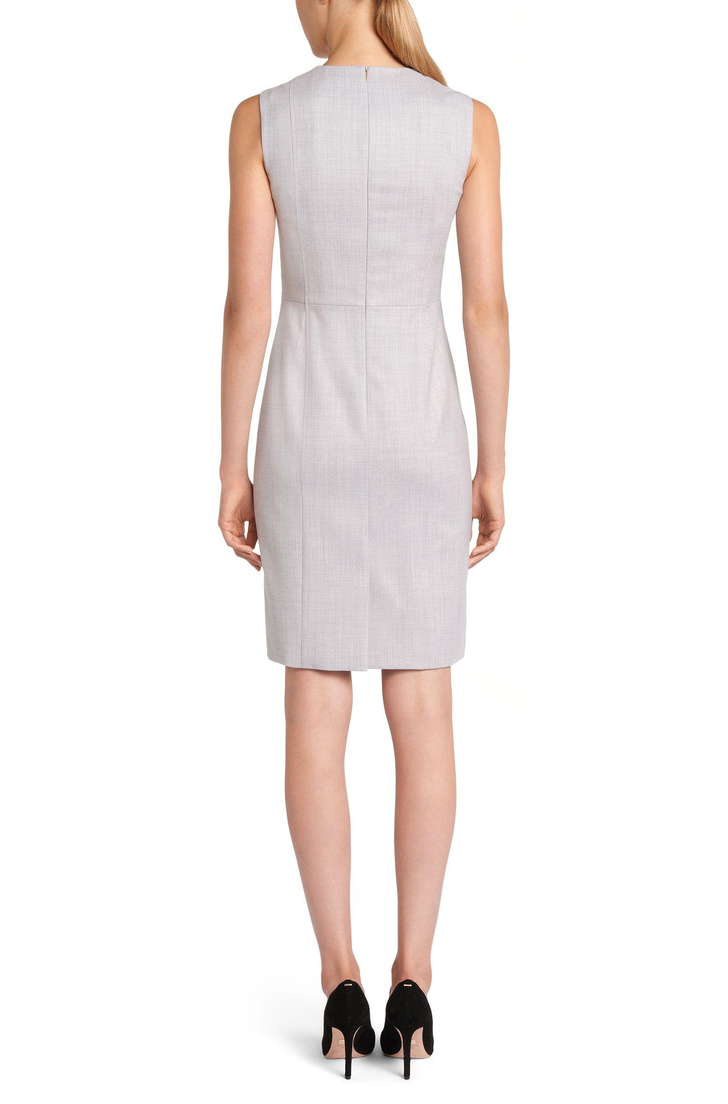 Fijngemêleerde etui-jurk van scheerwol met stretch: 'Dyflena'