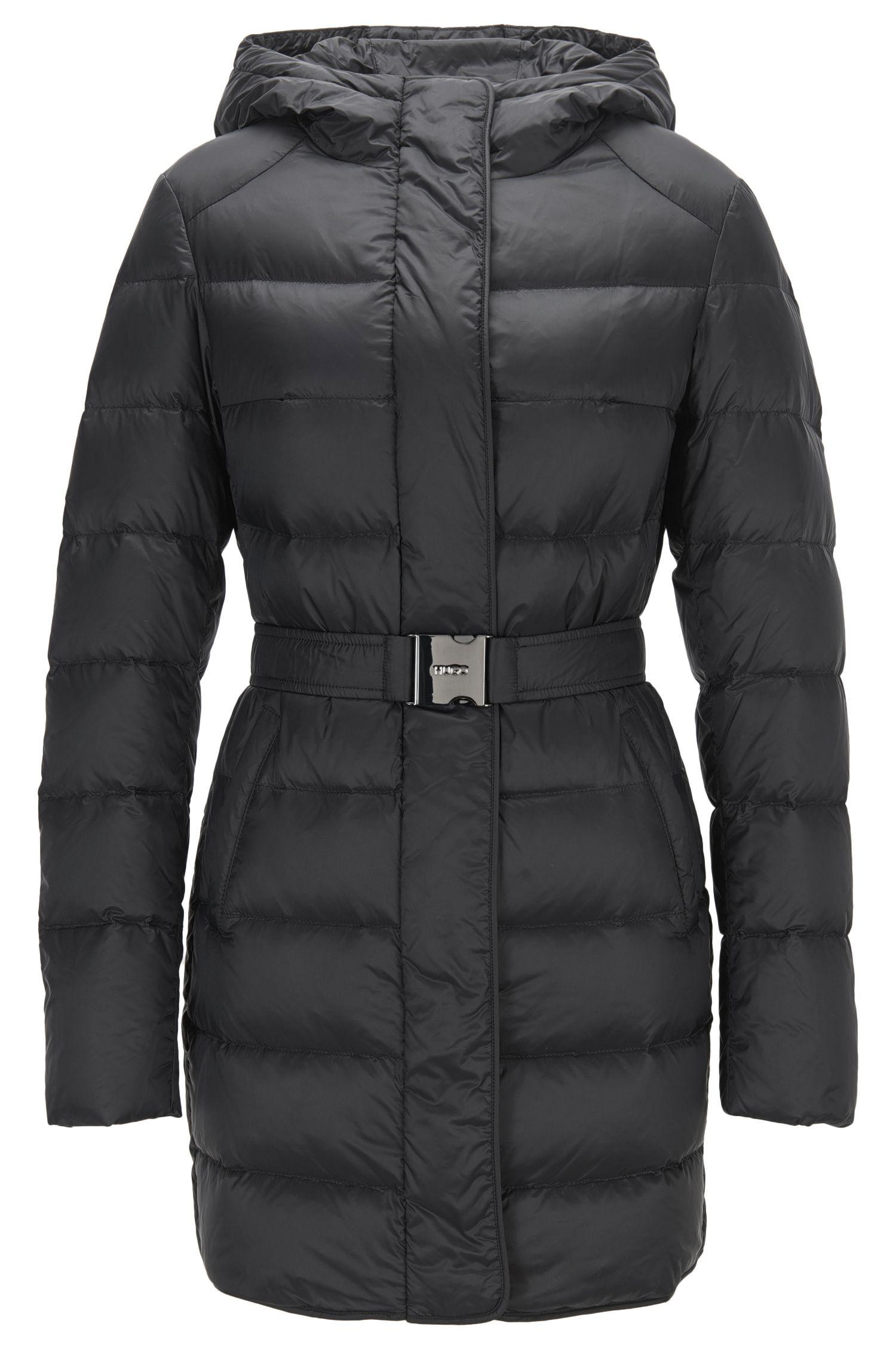 Fitted down coat with adjustable hood: 'Felinda'