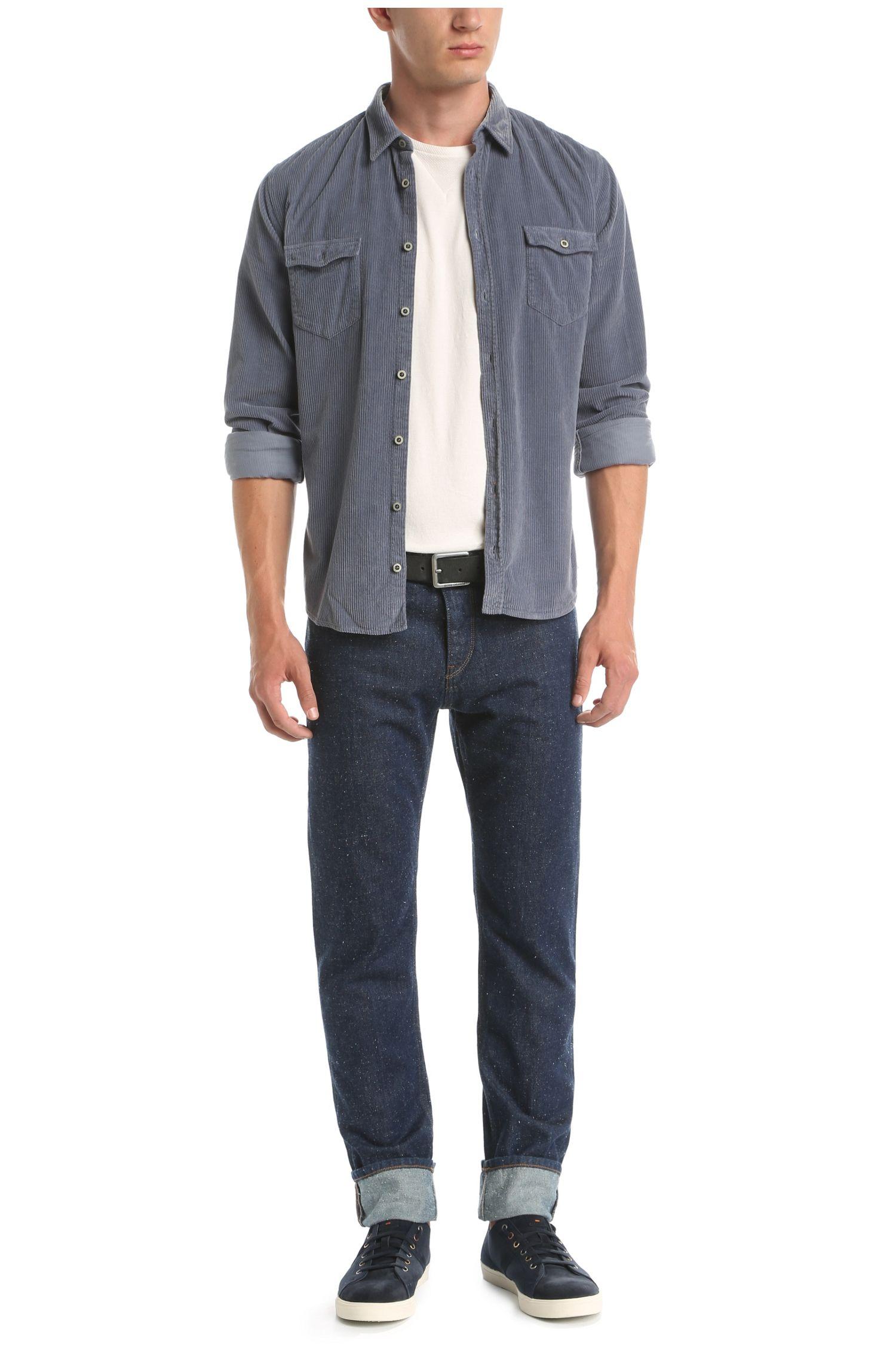 Slim-fit overhemd van katoen met cordstructuur: 'EdoslimE'