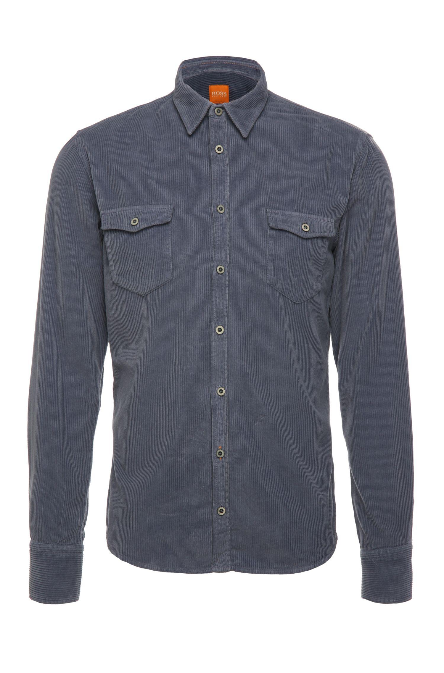 Slim-fit cotton shirt in corduroy: 'EdoslimE'