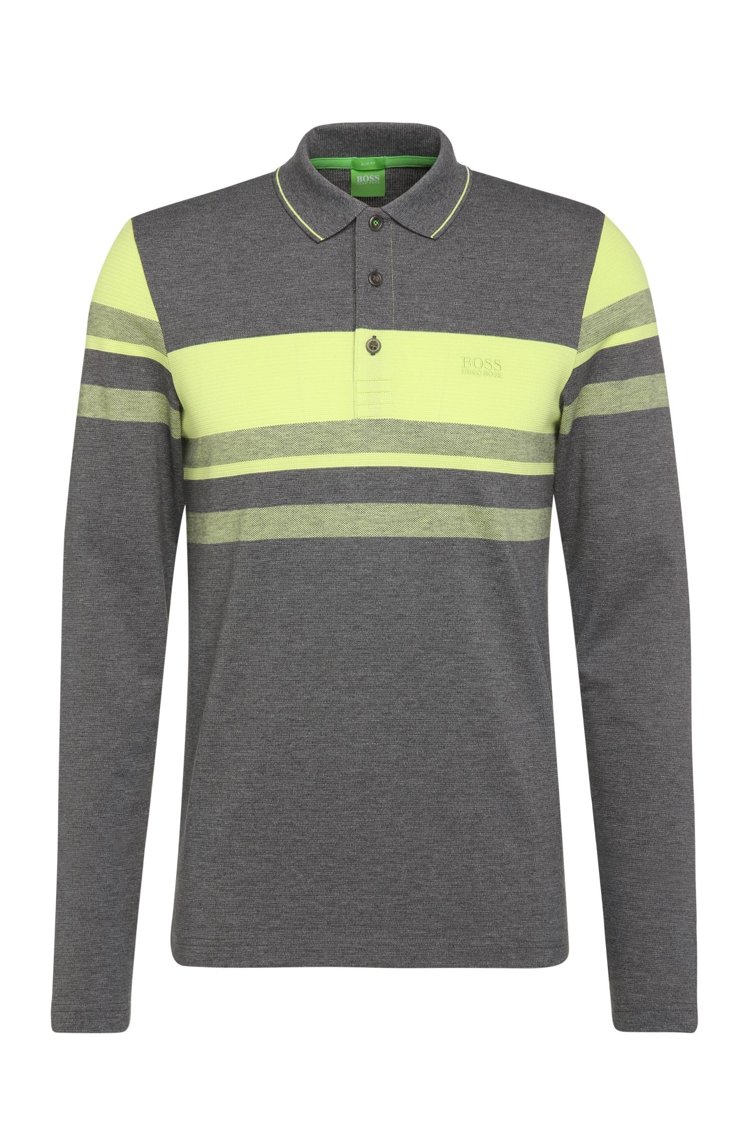 Slim-Fit Longsleeve-Polo aus Baumwoll-Mix: ´Pleesy 1`
