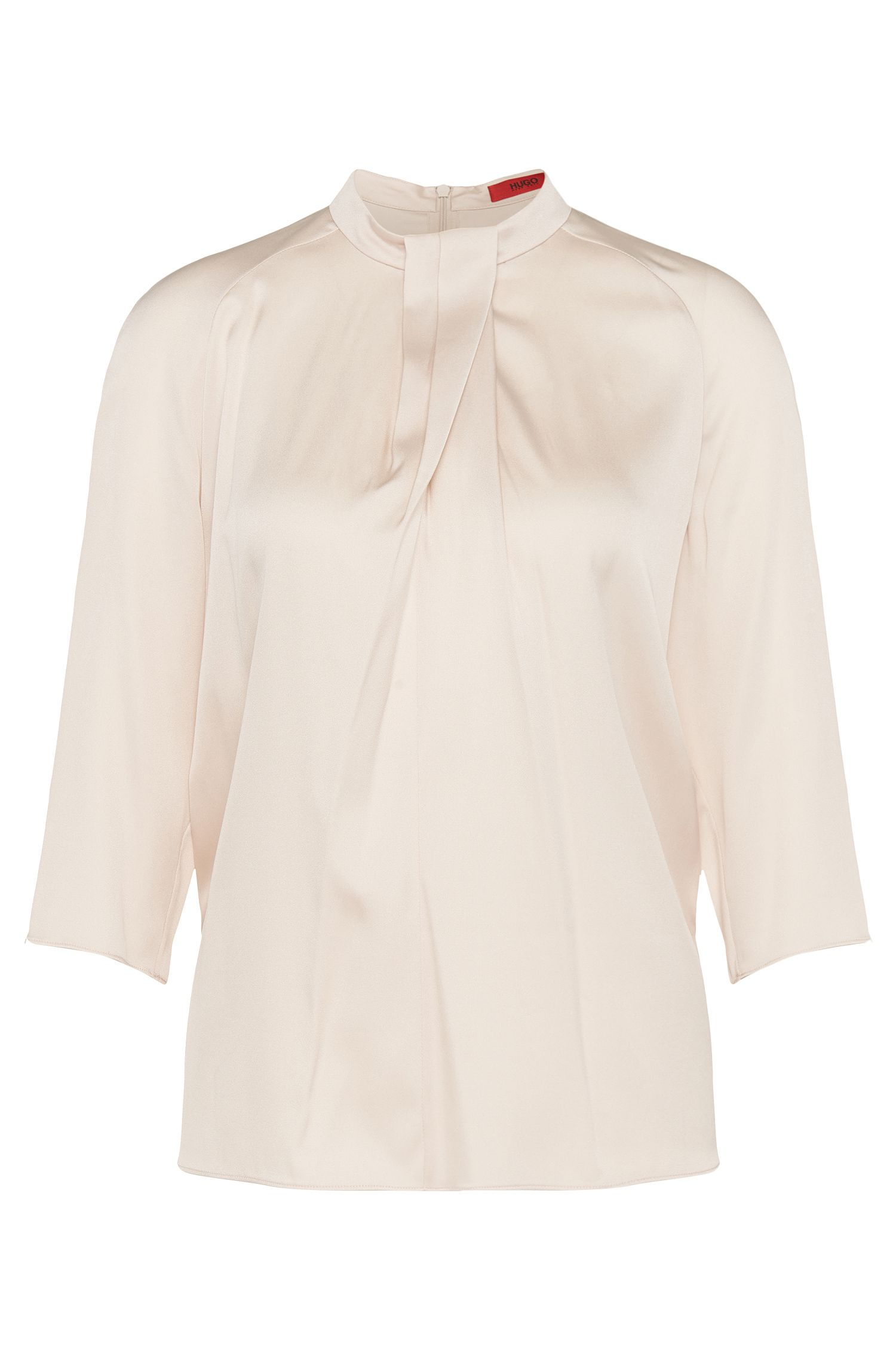 Blouse in stretch silk with folds: 'Clelo-1'
