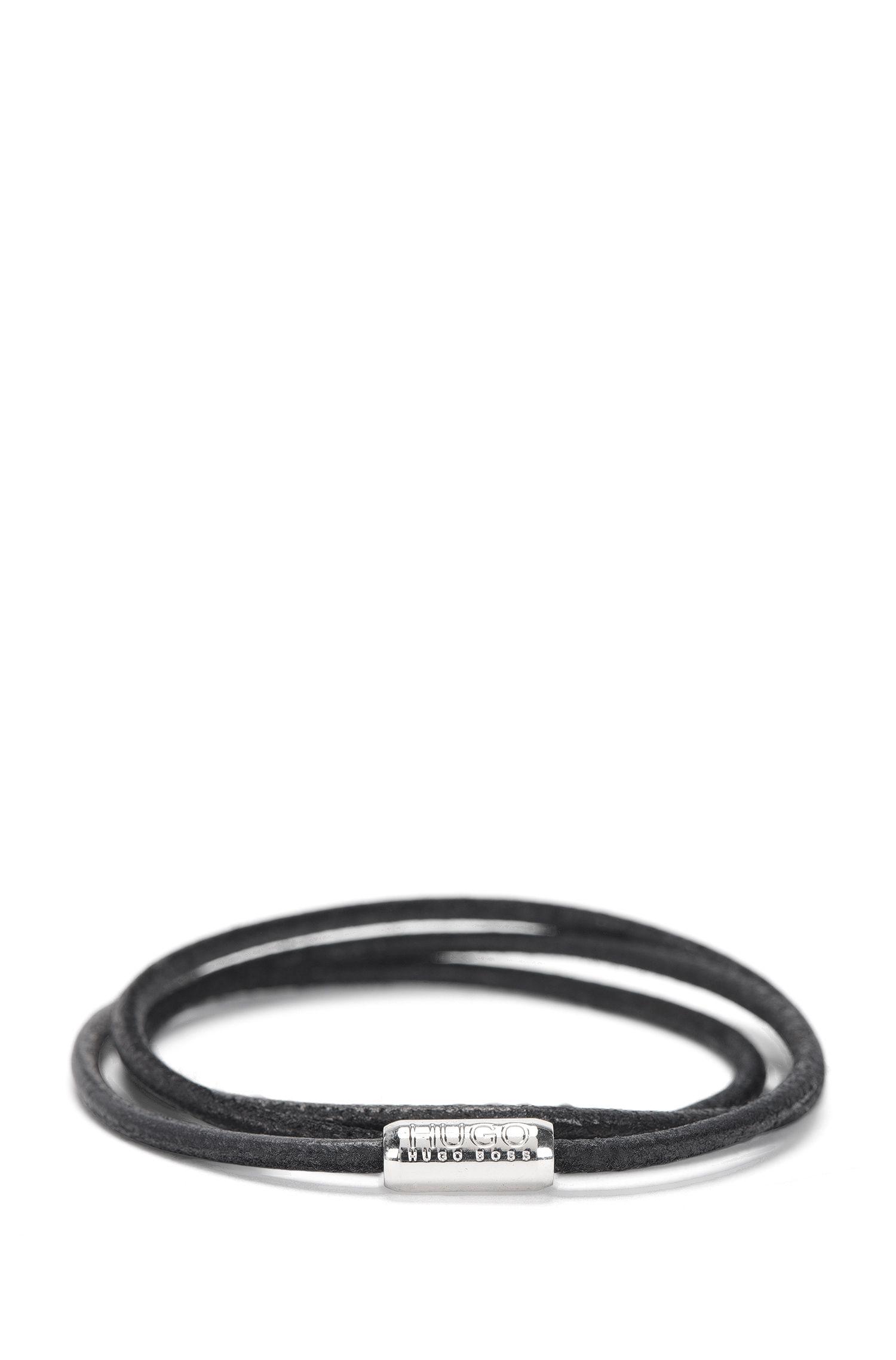 Narrow wrap-bracelet in leather: 'E-ELEMENT'