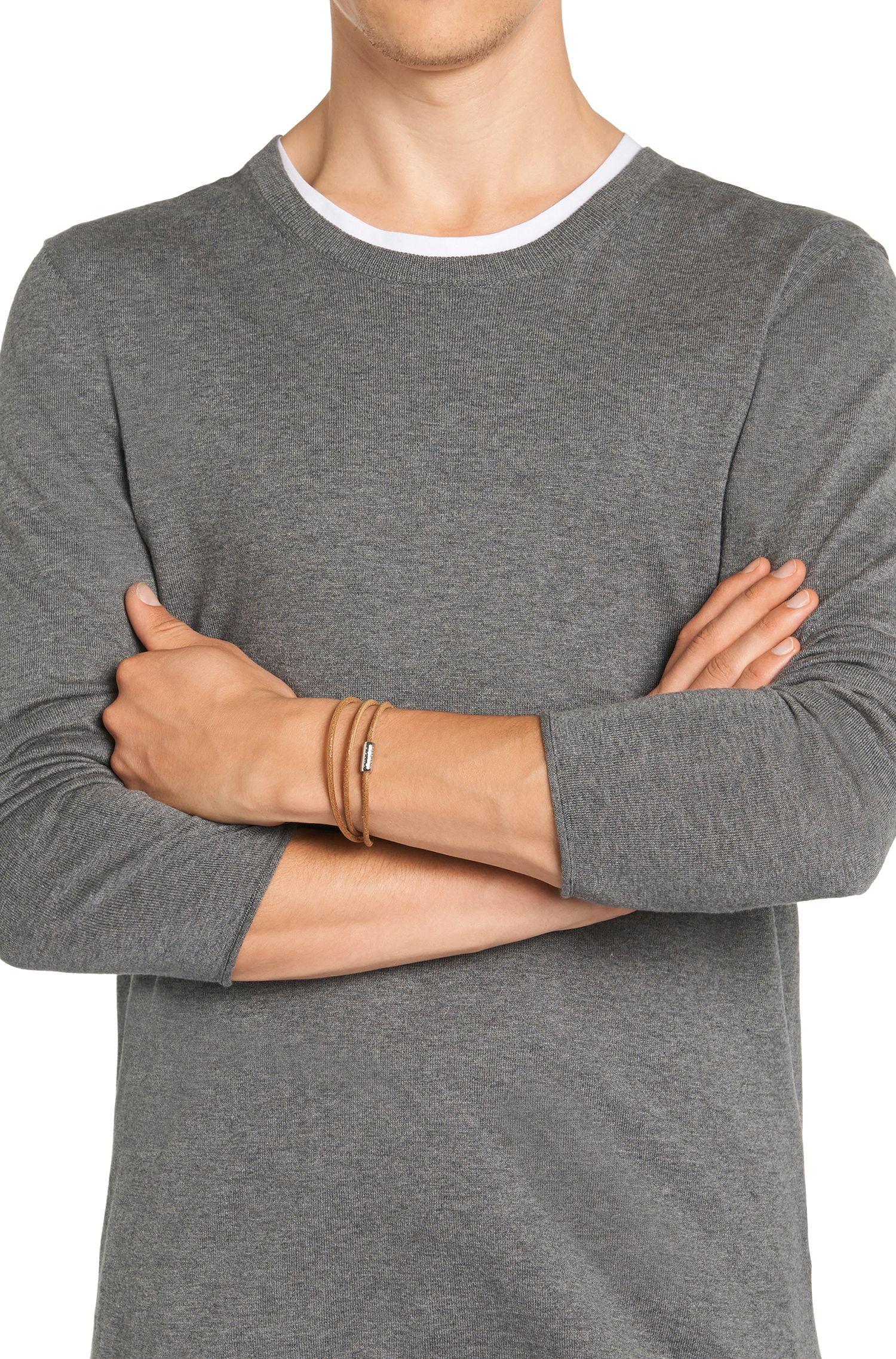 Smalle wikkelarmband van leer: 'E-ELEMENT'