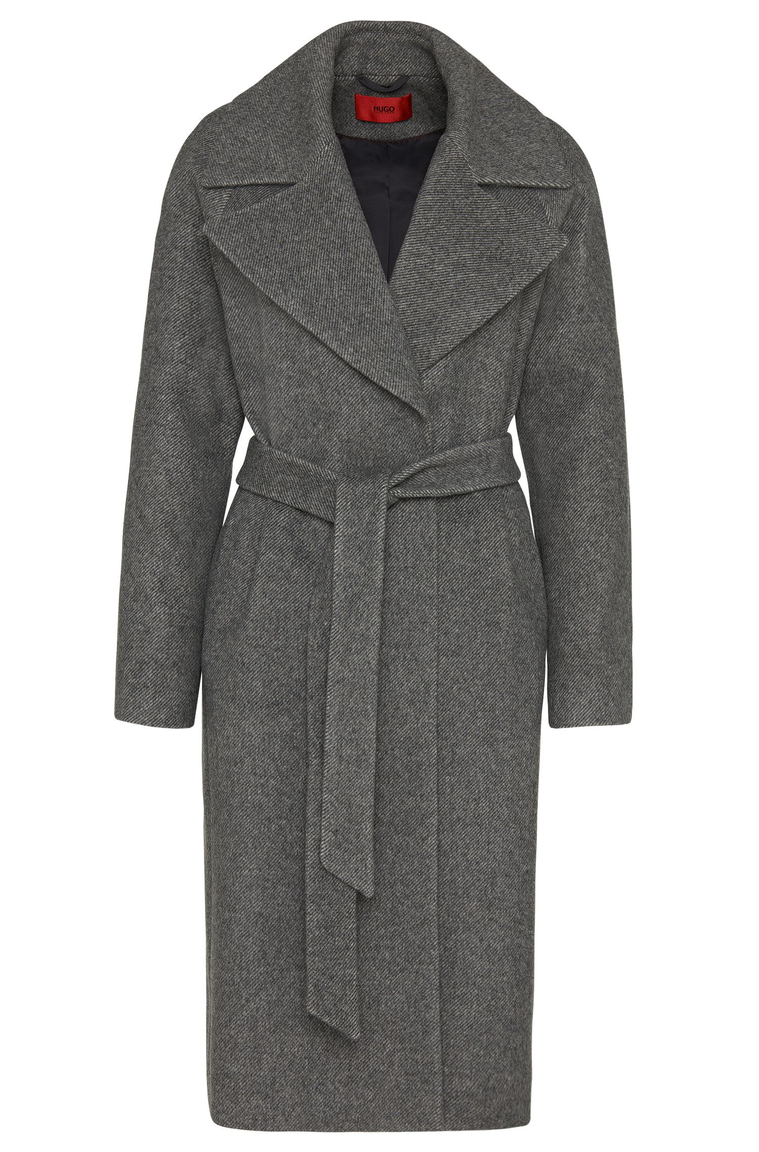 Mottled coat in new-wool blend with belt: 'Meone'