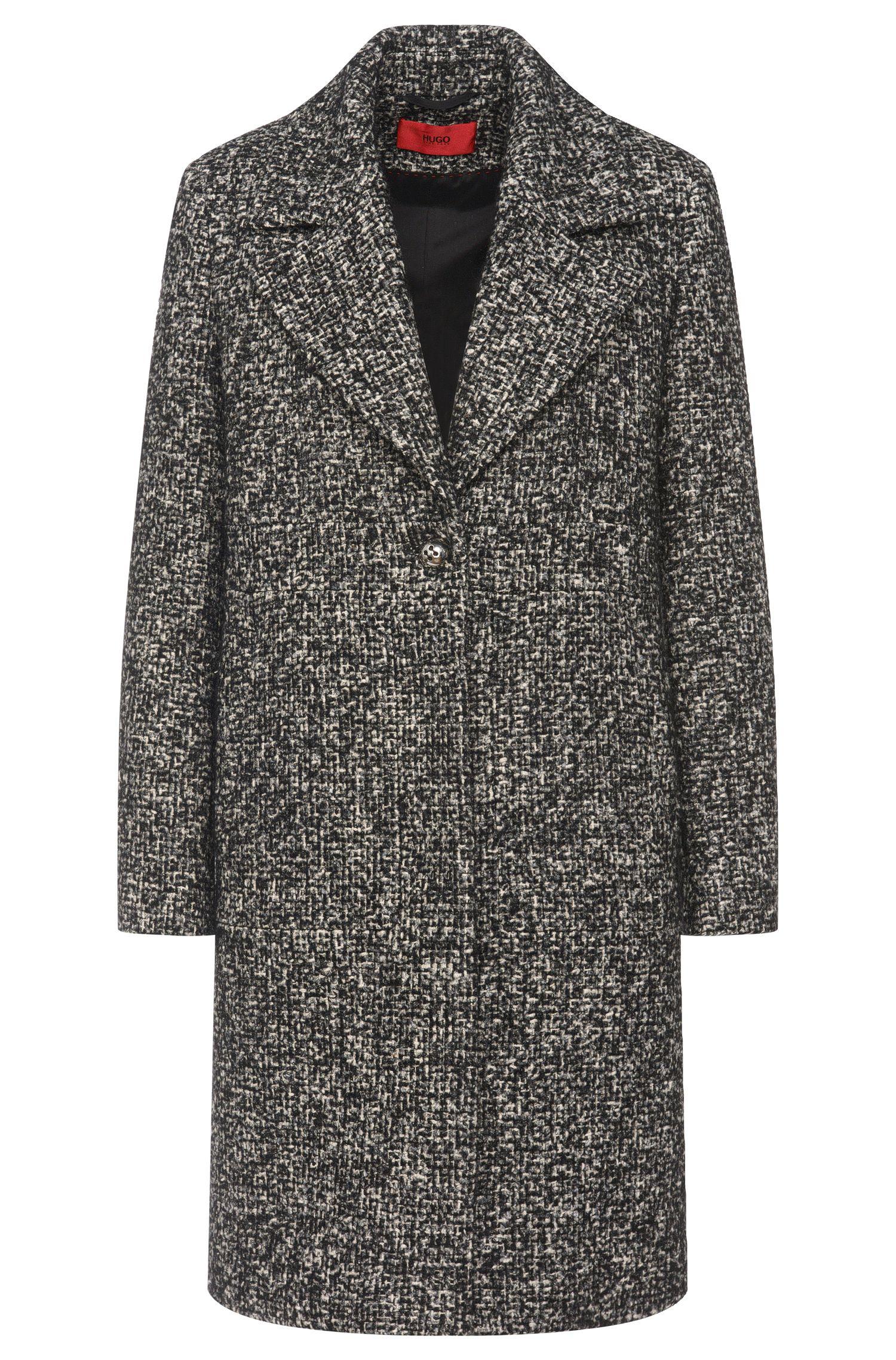 Grofgemêleerde mantel van een katoenmix met wol en zijde: 'Mellis'