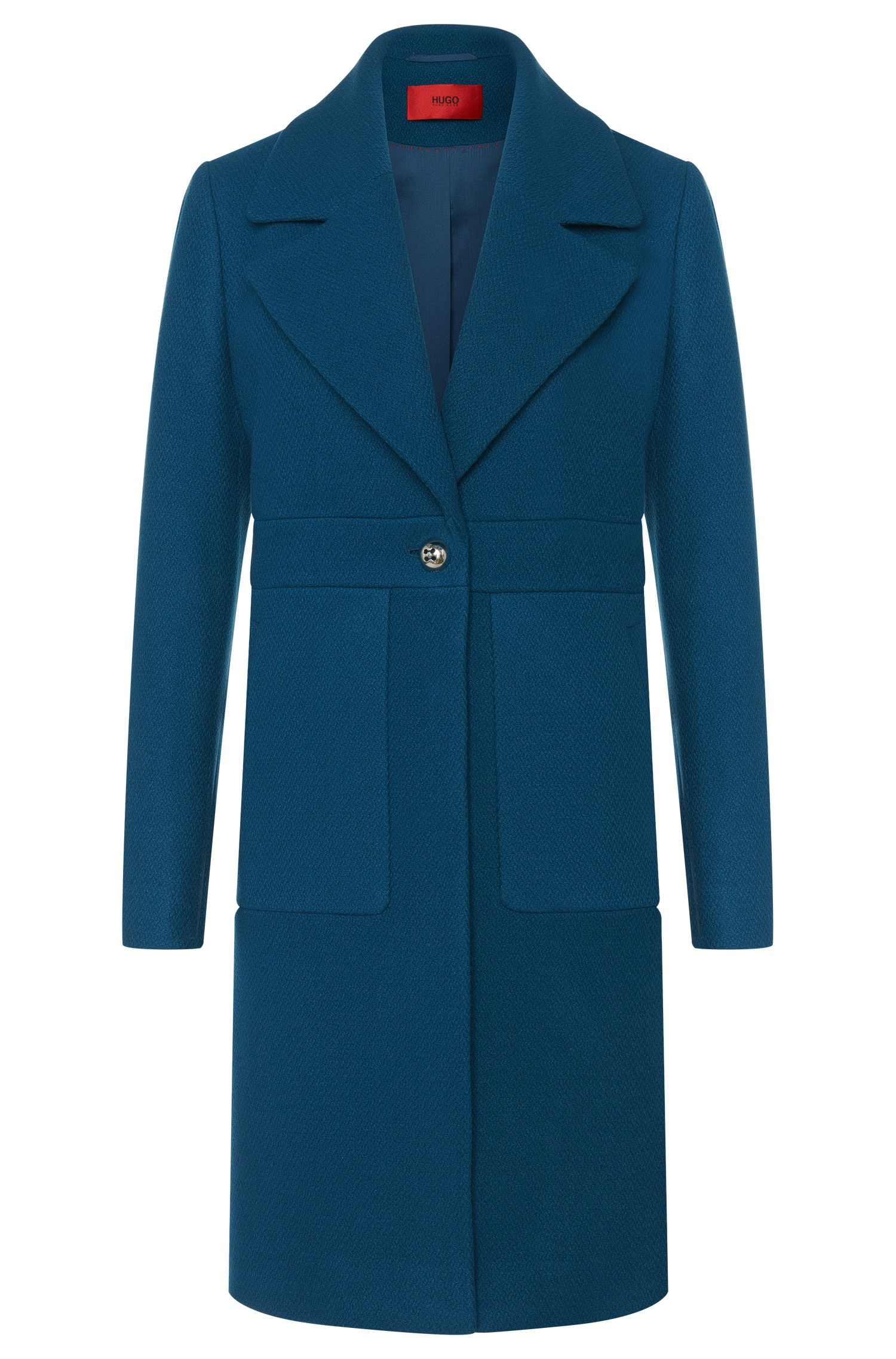 Coat in new-wool blend with concealed snap button placket: 'Mellis'