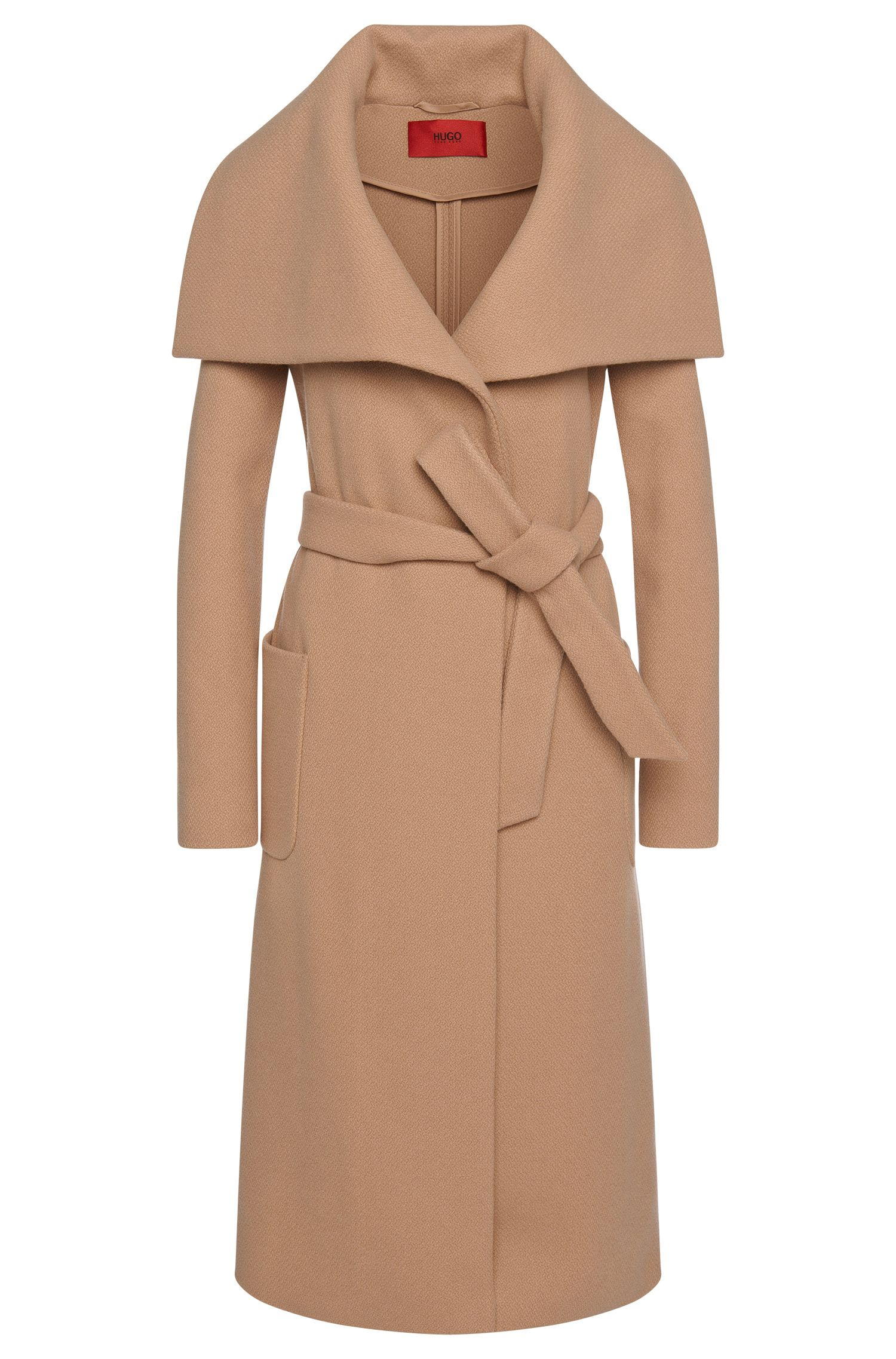 Straight-fit coat in new-wool blend with wrap belt: 'Madalyn'