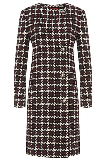 Straight-cut coat with houndstooth pattern: 'Mesila', Open Purple