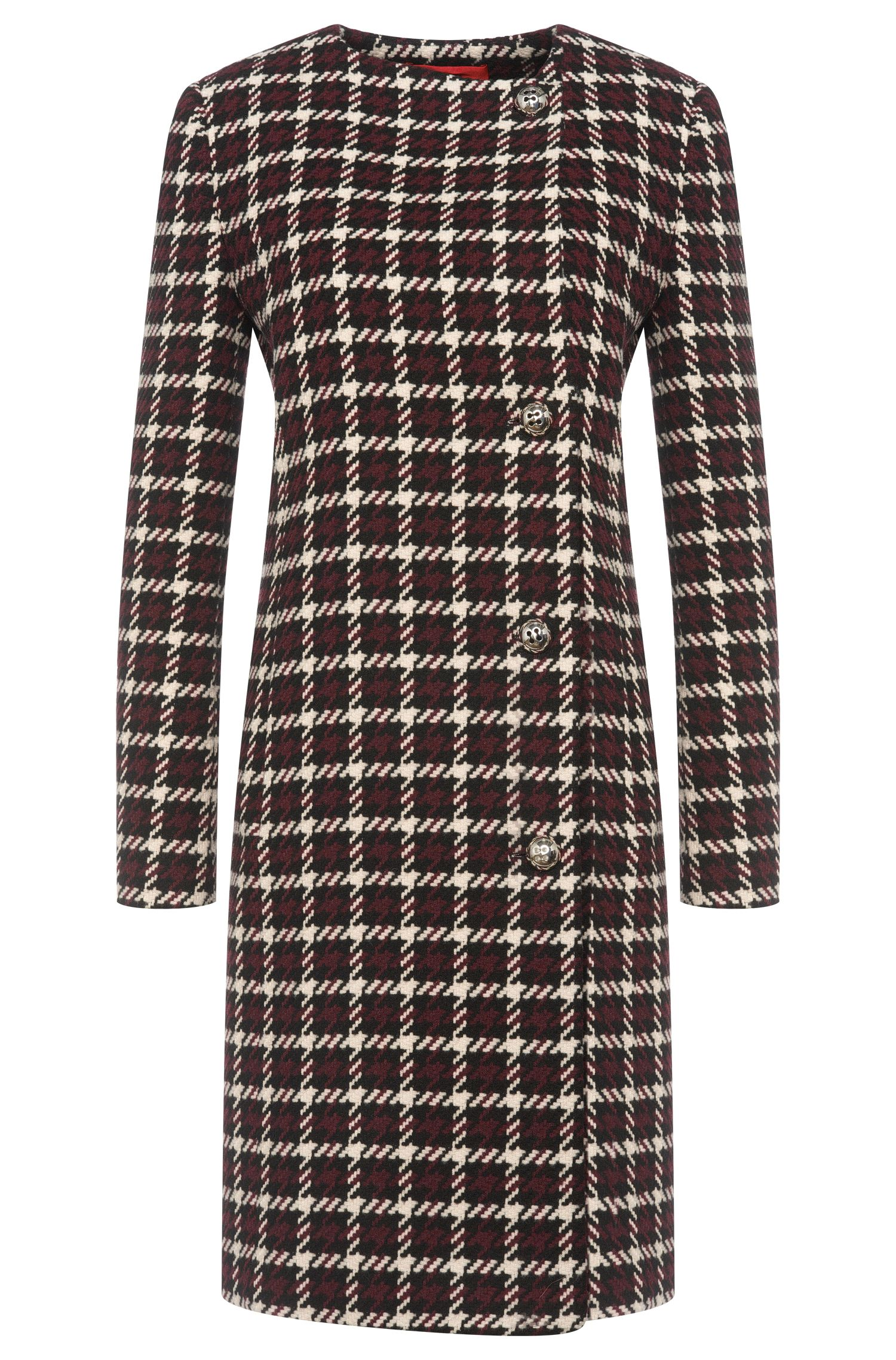 Straight-cut coat with houndstooth pattern: 'Mesila'