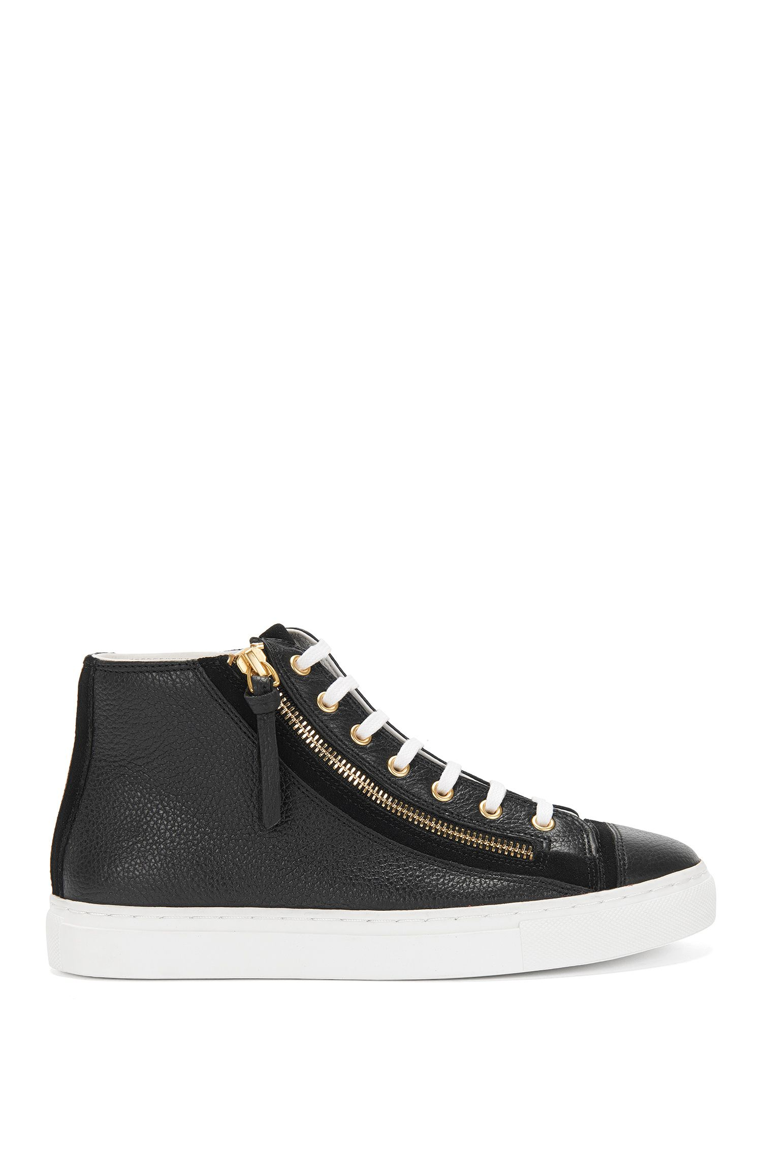 High-top leather trainers with zips: 'Nycole-G'