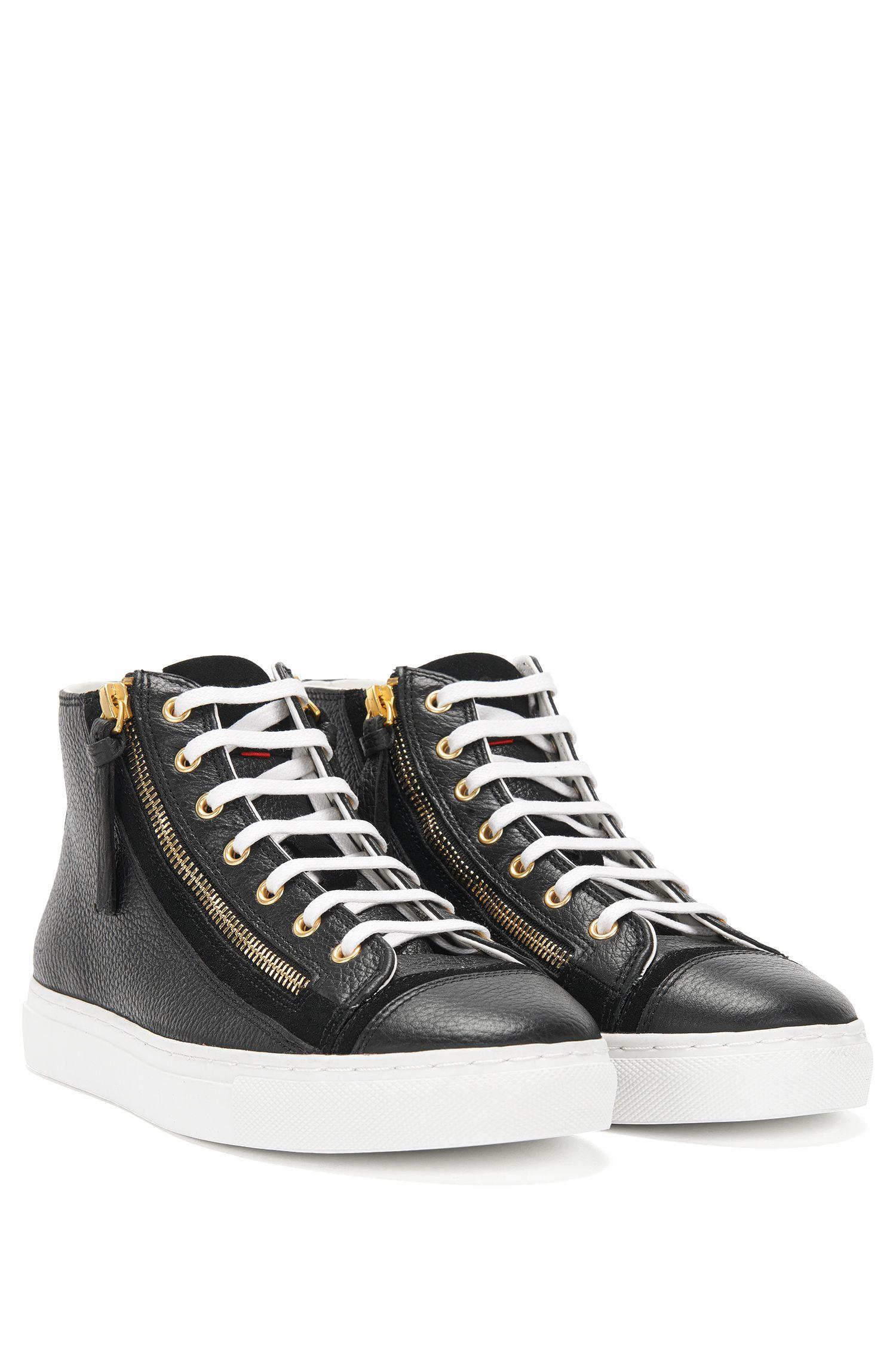 High Top Sneakers aus Leder mit Reißverschlüssen: 'Nycole-G'