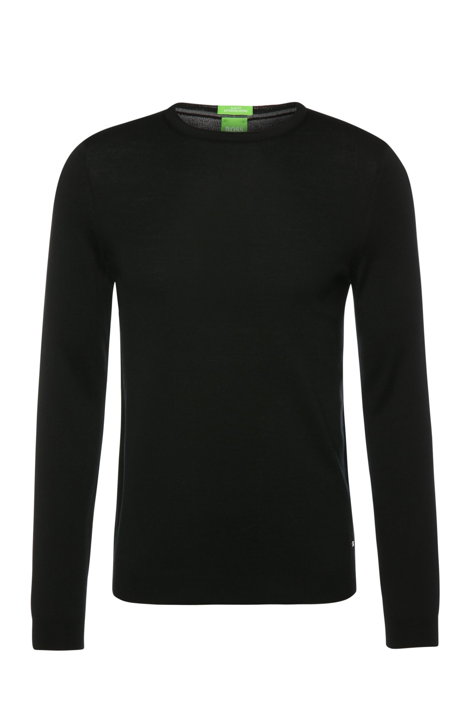 Slim-fit sweater in new wool in merino quality: 'C-Coby_01'