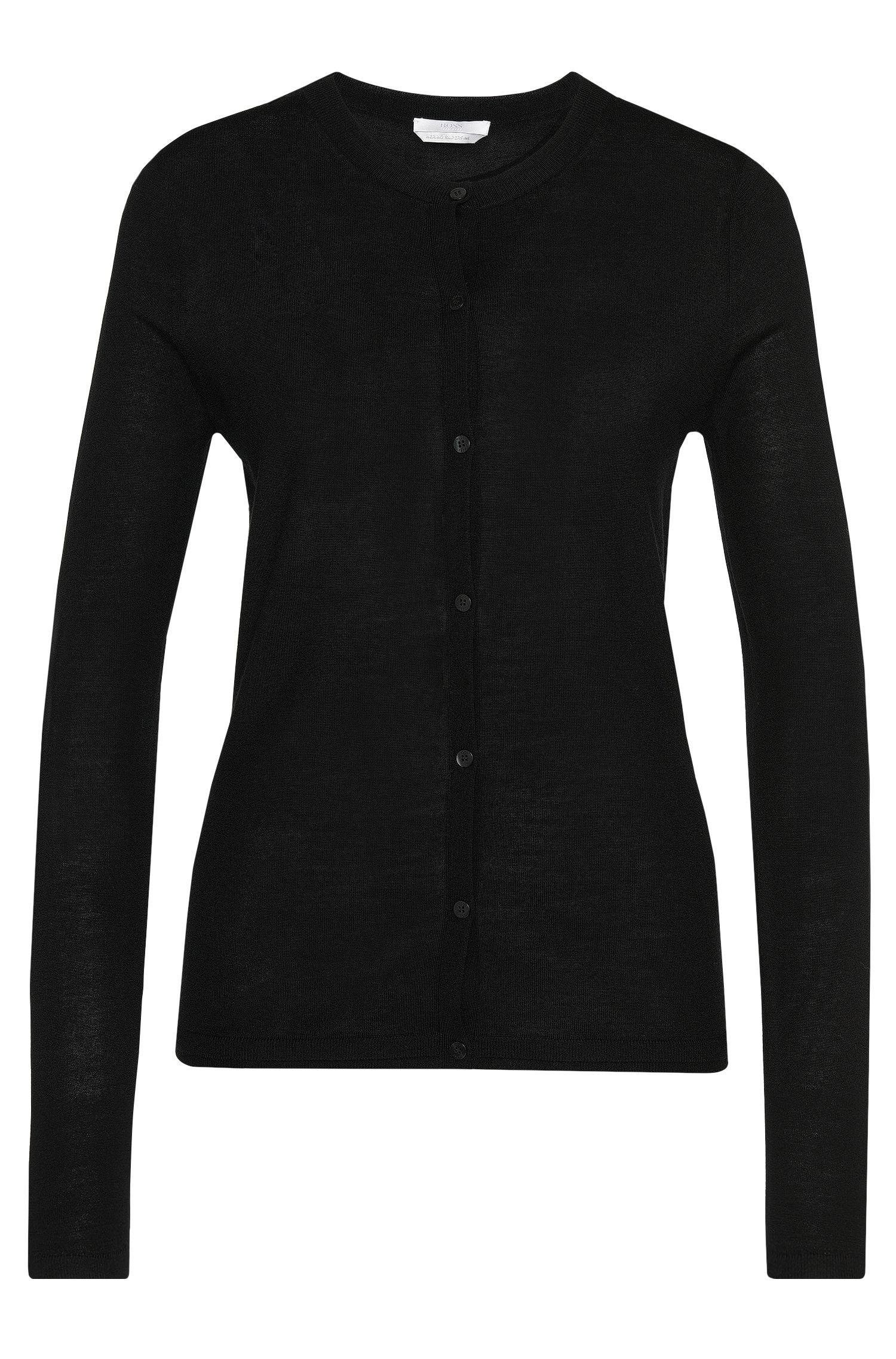 Plain cardigan in new wool: 'Fabra'