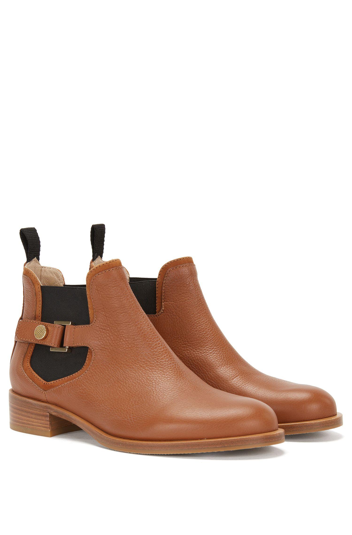 Boots aus Leder mit dekorativem Riegel-Detail: 'Eddy-G'