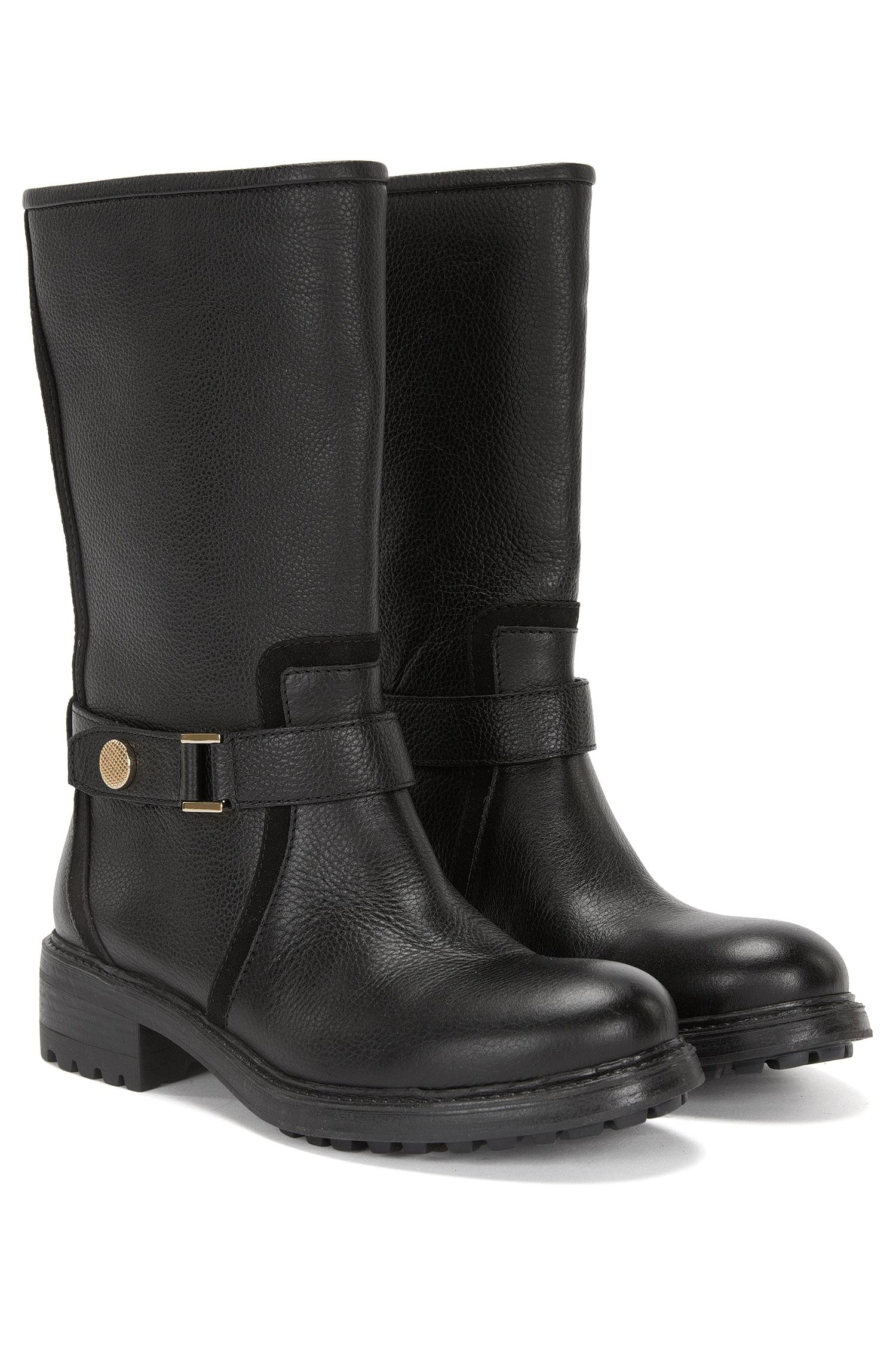 Boots aus Leder mit dekorativem Riegel-Element: 'Eduard-G'