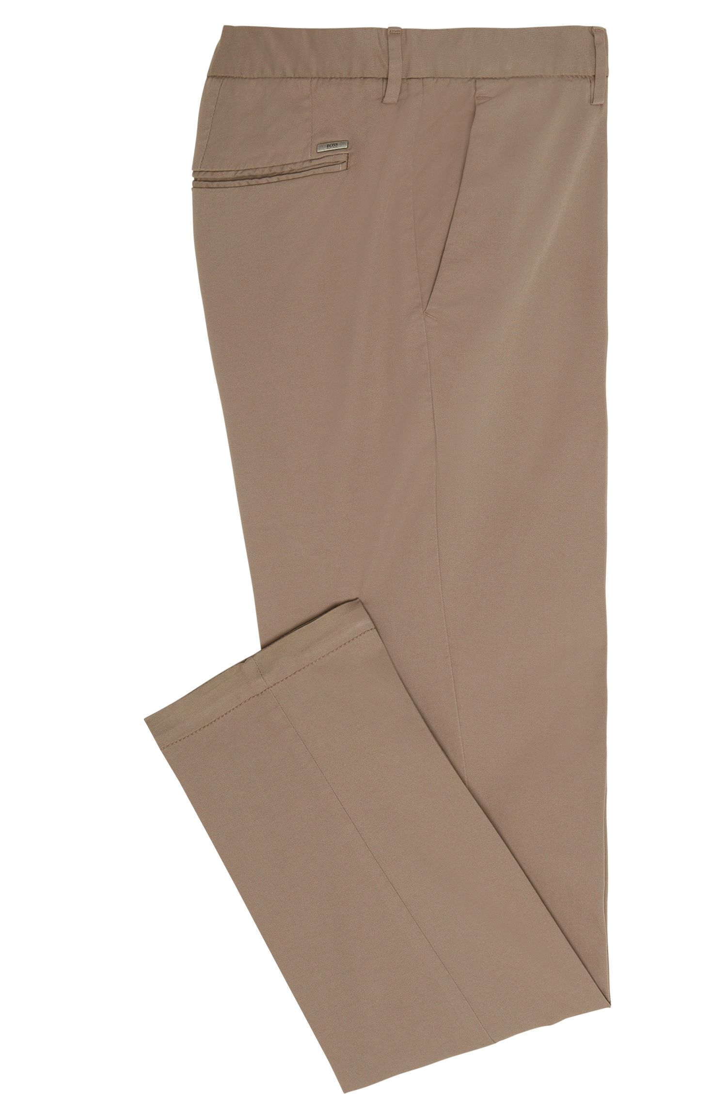 Unifarbene Tapered-Fit Hose aus Stretch-Baumwolle: 'Kaito3-D'