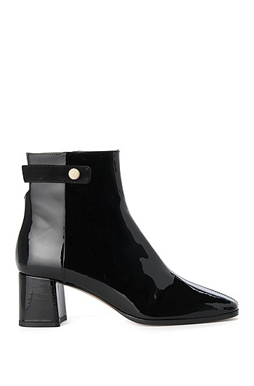 Leather ankle boots with patent leather effect: 'Molette-P', Black