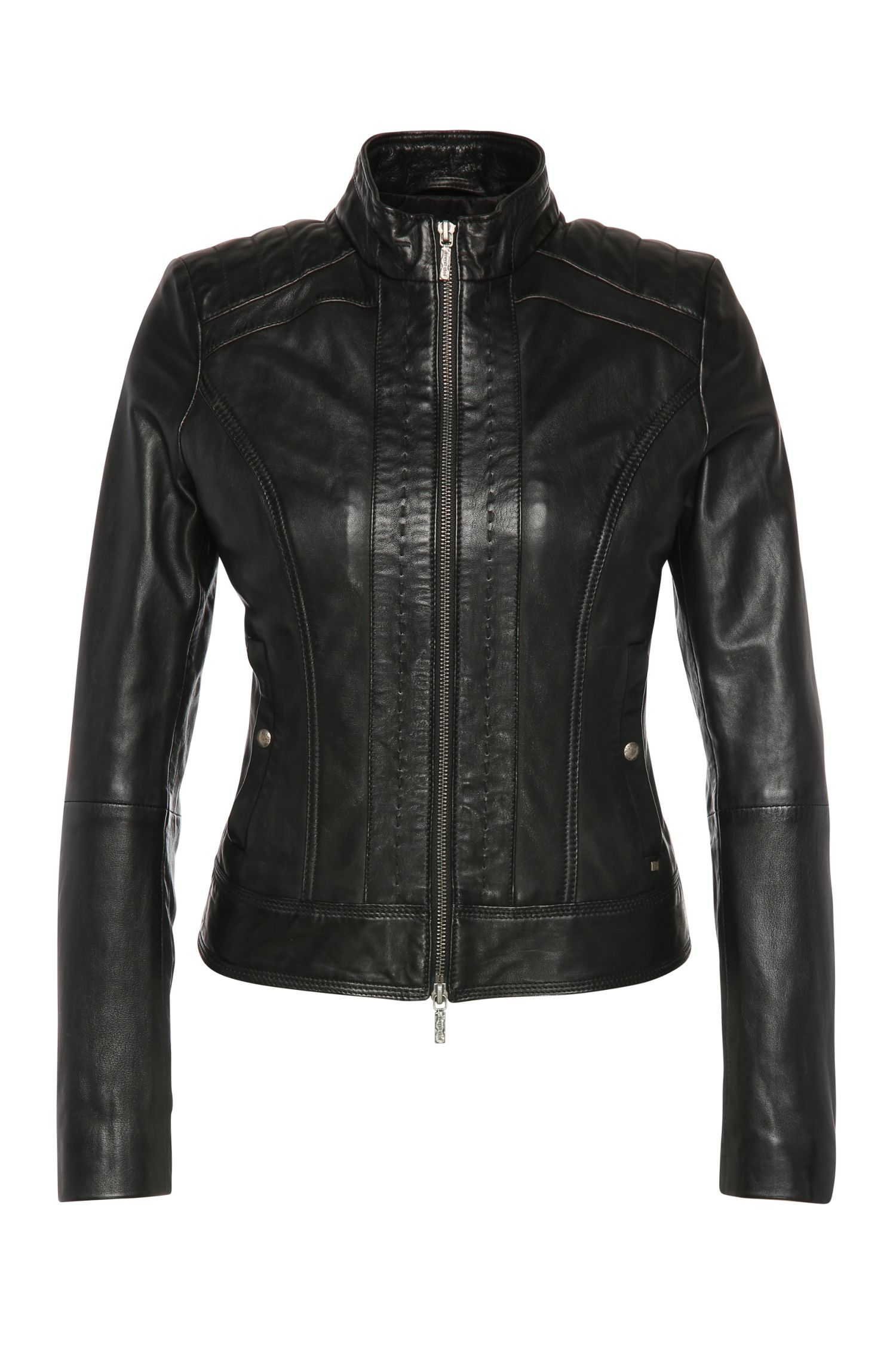 Slim-fit leather jacket with effect stitching: 'Janabelle'
