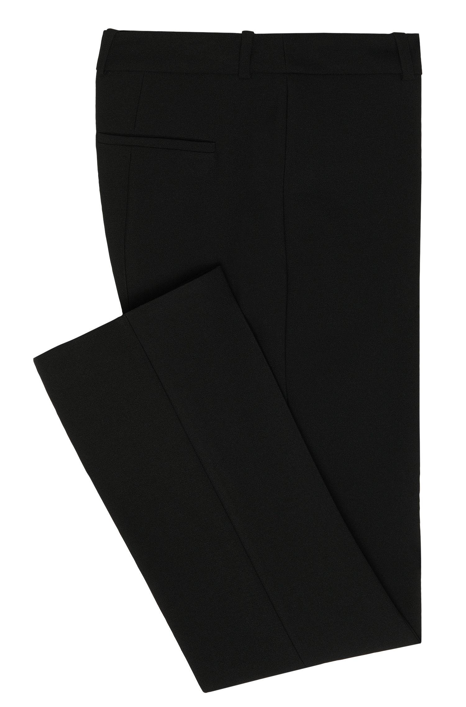 Pantalon à taille haute en matières mélangées, doté de plis de repassage: «Hanane»