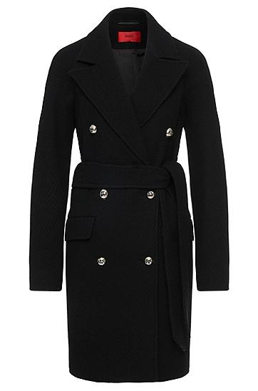 Mantel aus Woll-Mix mit geriffelter Struktur: 'Marife', Schwarz