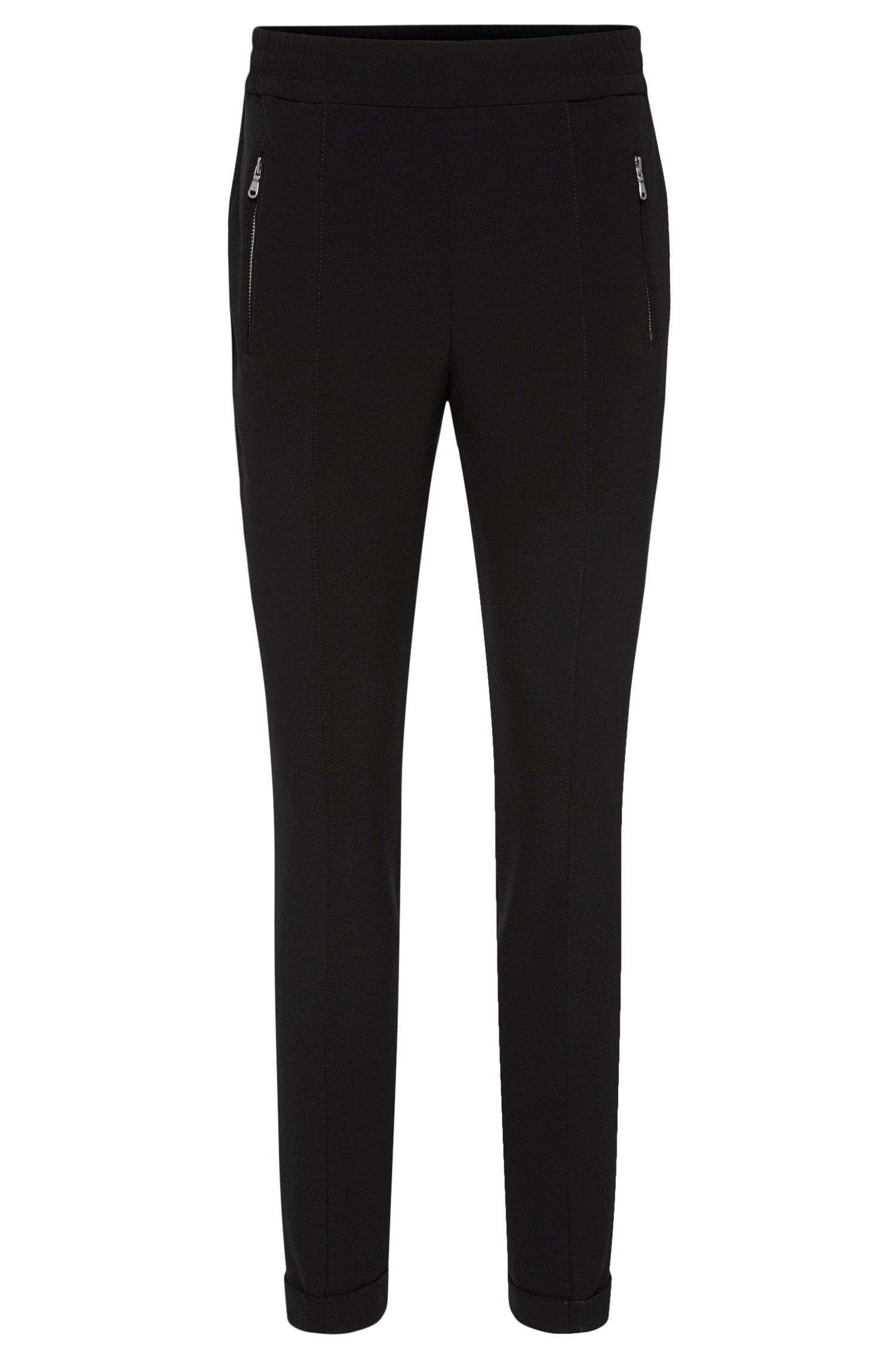 High-rise fitted trousers with elasticated drawstring waistband: 'Himoni'