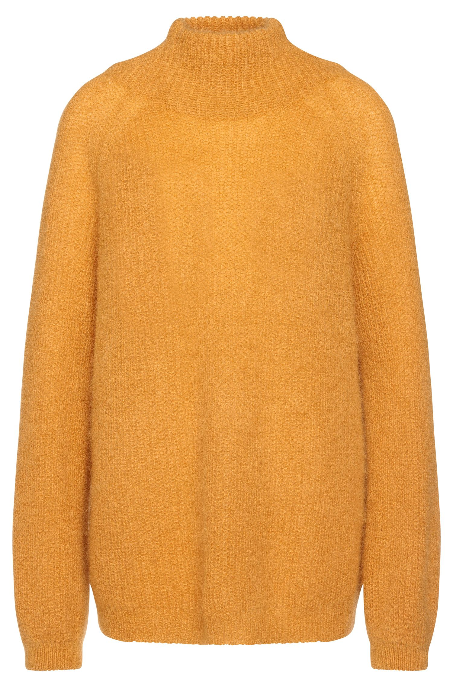 Polo-neck sweater in mohair blend with new wool: 'Fancine'