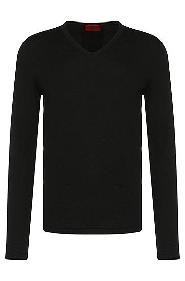 Comfort-Fit Pullover aus reiner Schurwolle: 'San Bernardo', Schwarz