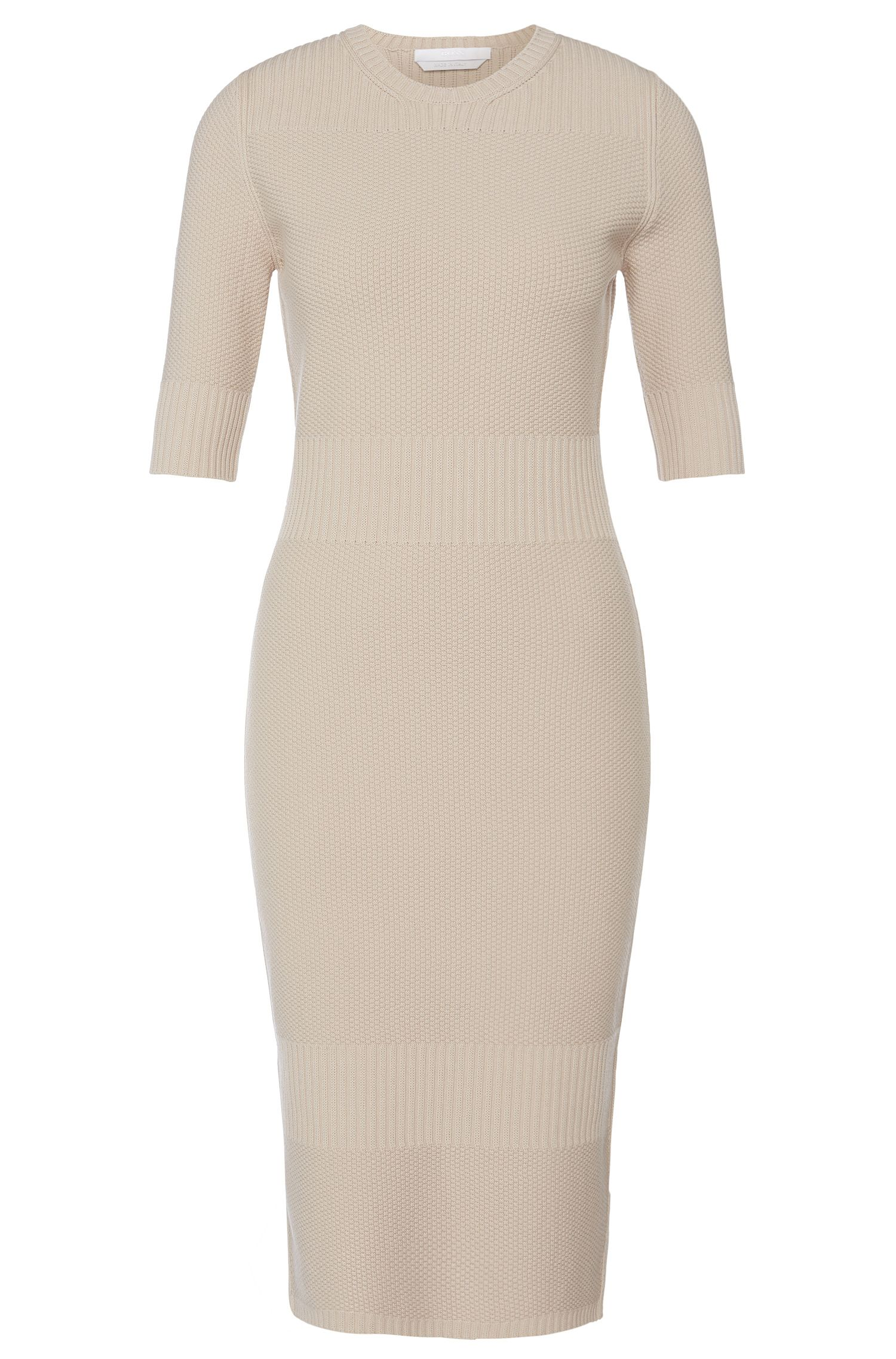 Dress in viscose blend with different knitted patterns: 'Fahda'
