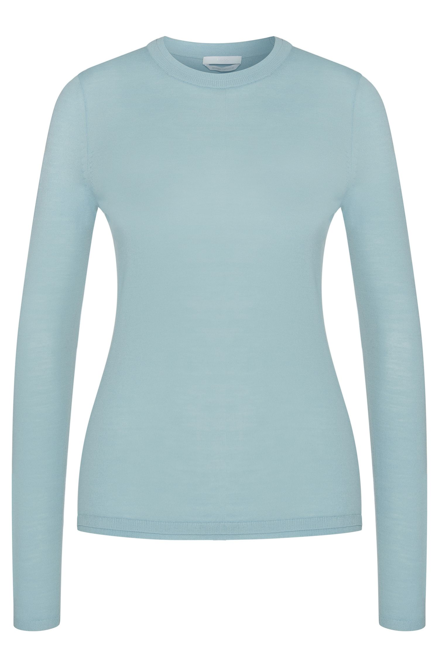 Plain sweater in pure new wool: 'Fabrisia'