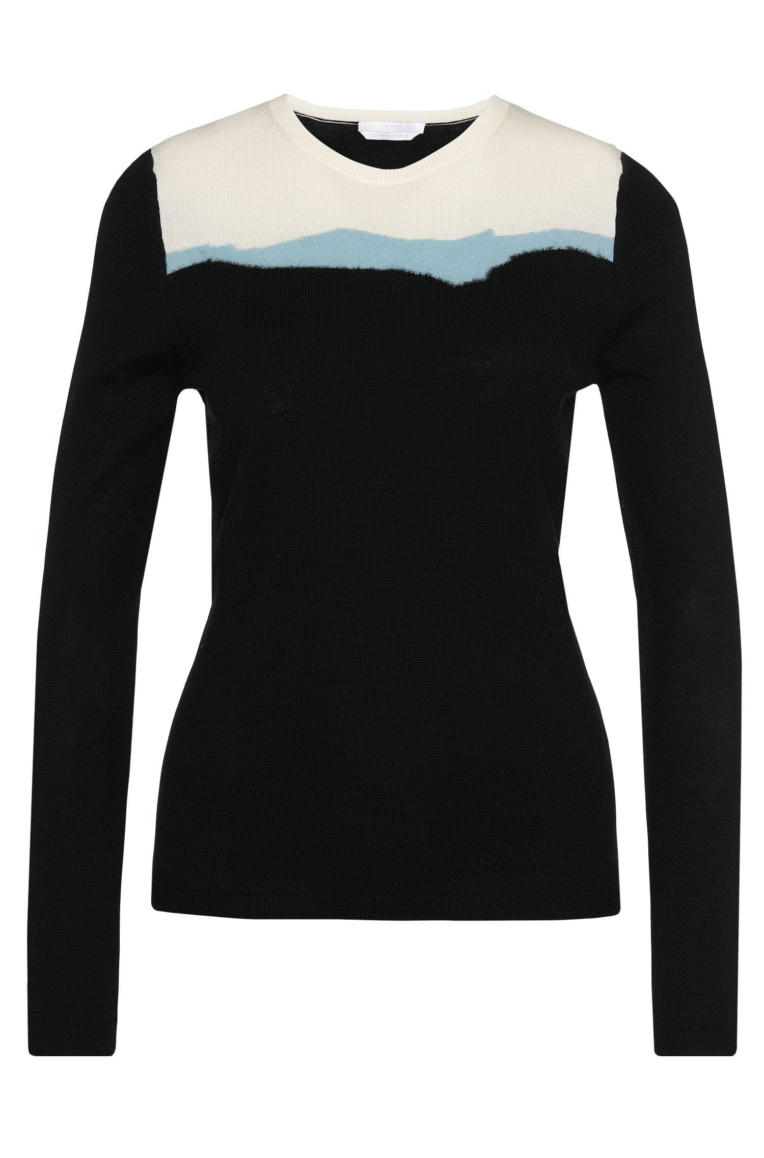 Pullover aus Schurwolle mit gemusterter Vorderseite: 'Farrah'