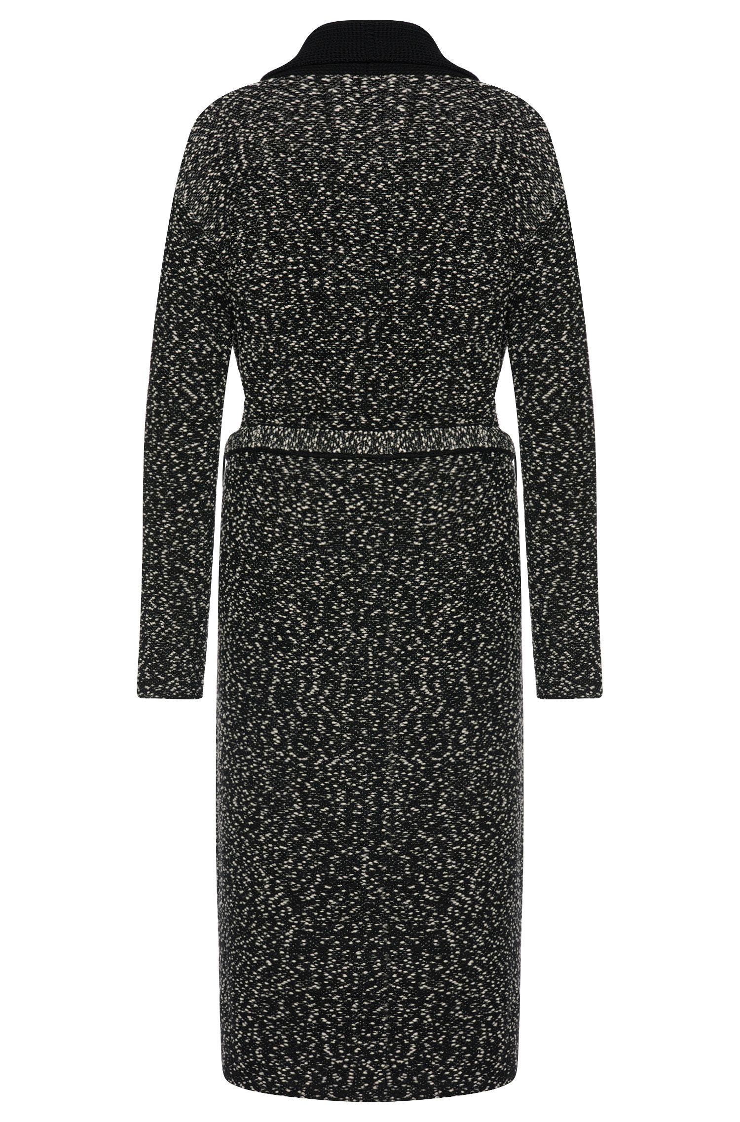 Manteau en maille chinée en laine vierge extensible, pourvu d'une ceinture à nouer: «Farada»