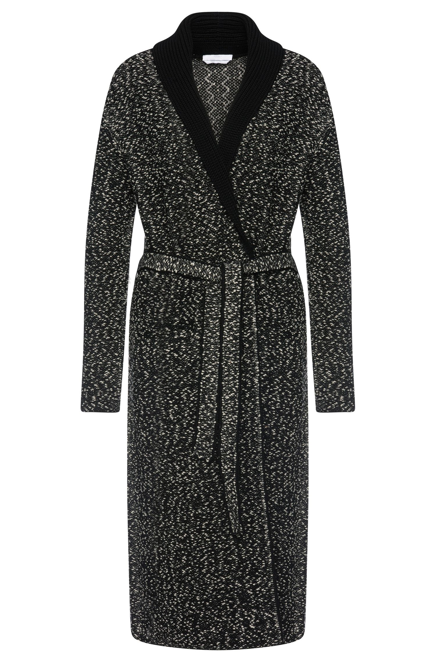 Mottled knitted coat in stretchy new-wool blend with wrap belt: 'Farada'