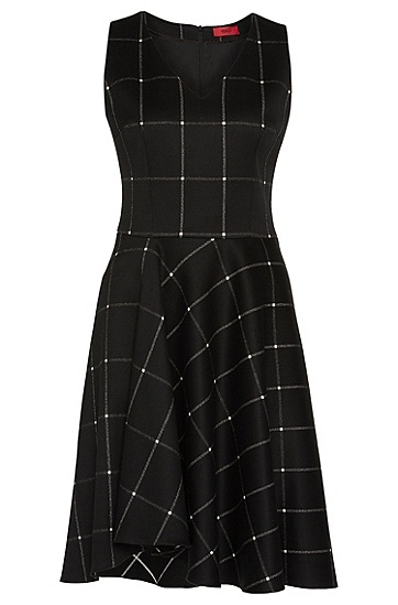 Sleeveless dress in stretch cotton blend: 'Kaina', Black