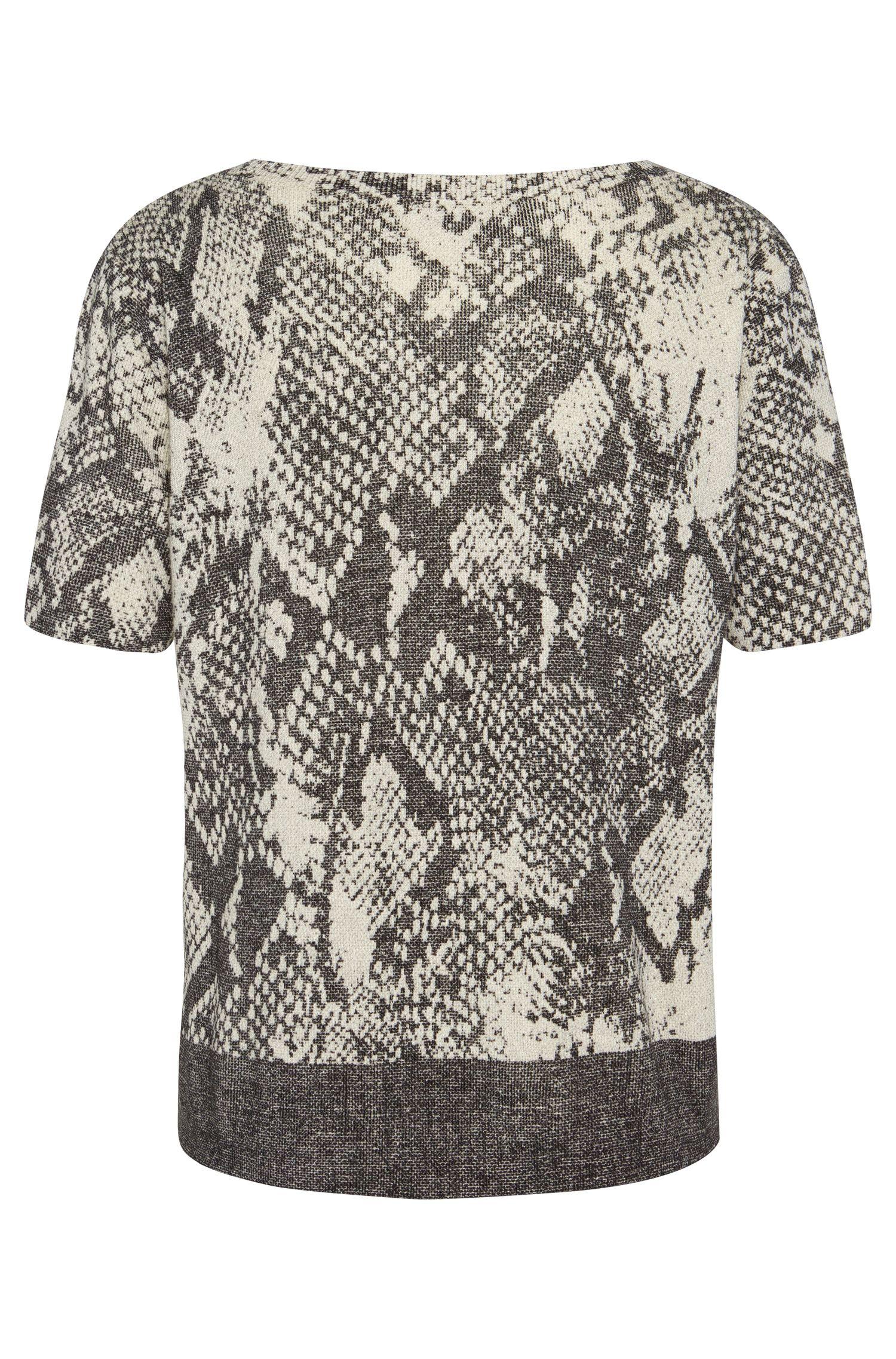 Kurzarm-Pullover aus softer Schurwolle mit Animal-Print: 'Fakiri'