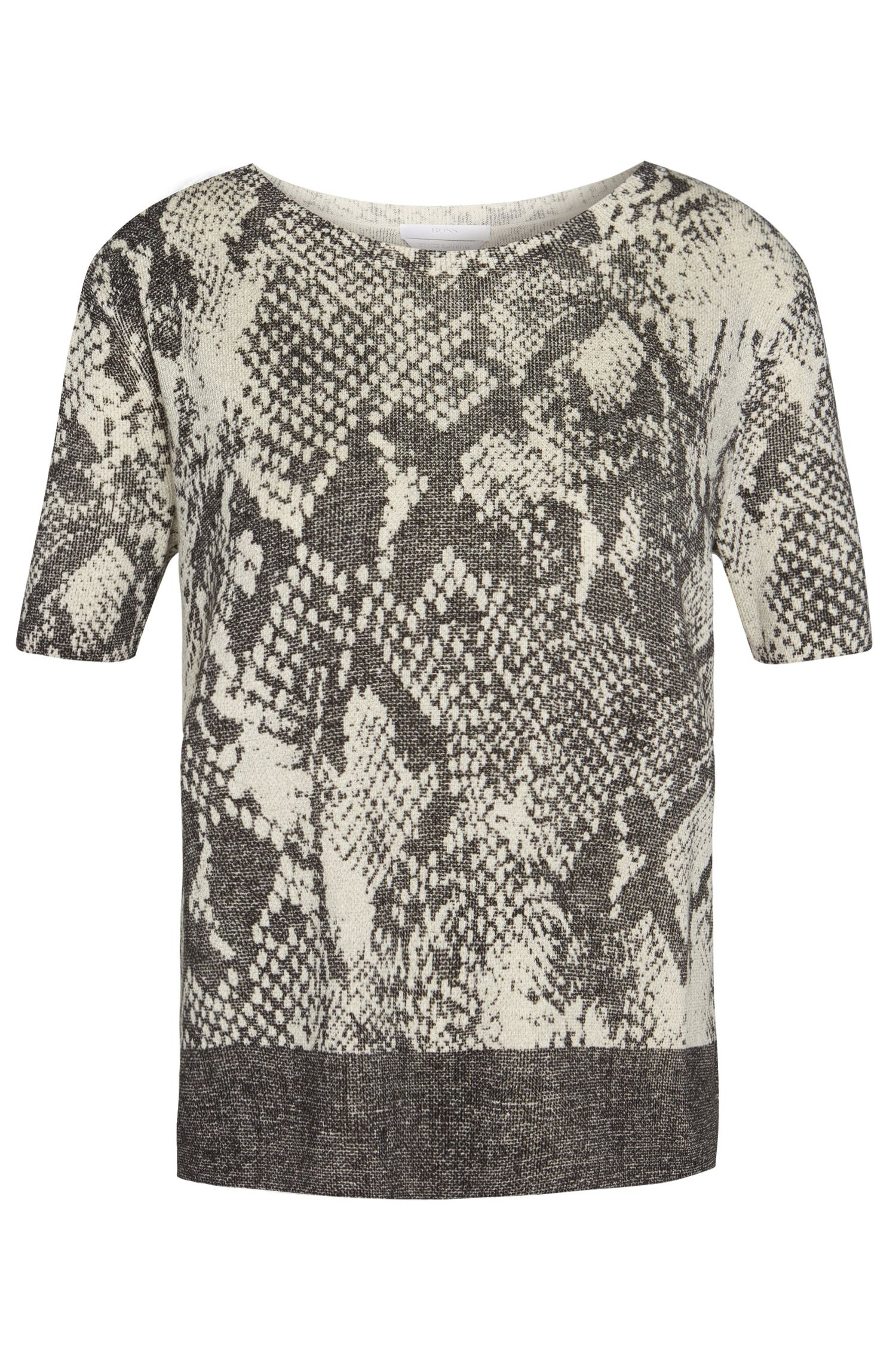 Short-sleeved sweater in soft new wool with animal print: 'Fakiri'