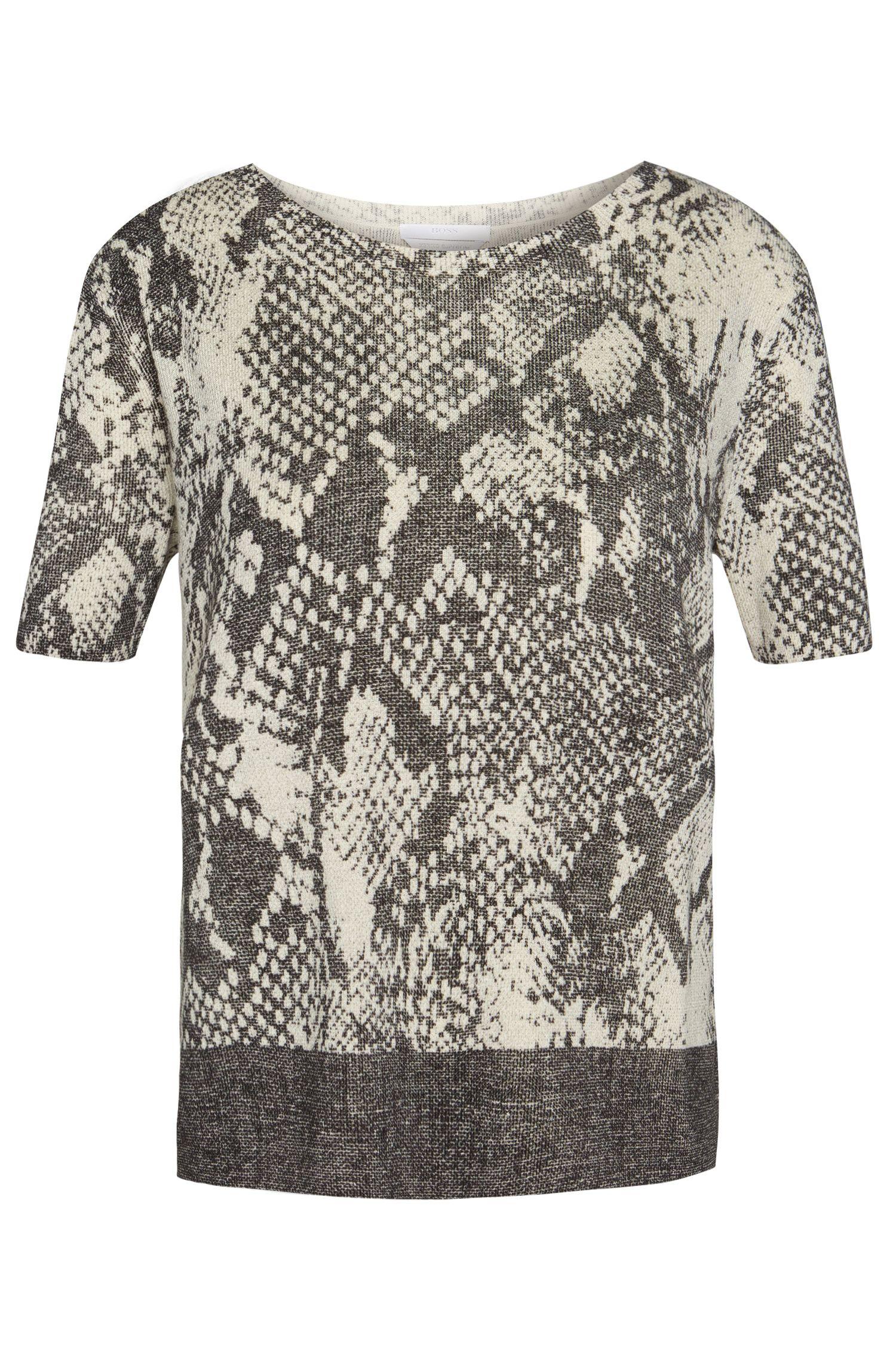 Jersey de manga corta en lana virgen suave con estampado animal: 'Fakiri'