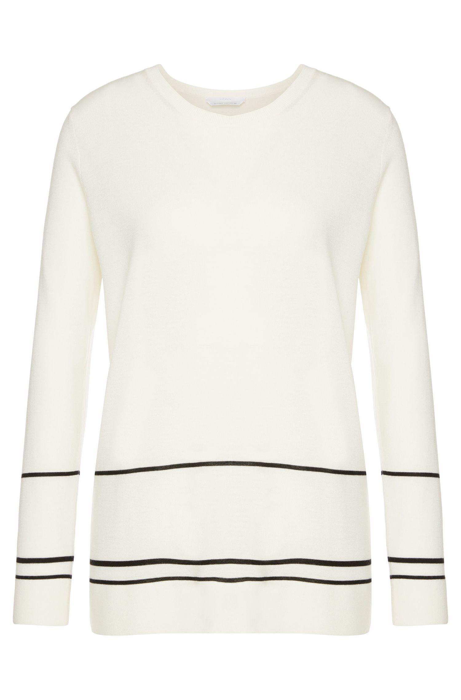 Pull en laine vierge avec motif à lignes: «Fadia»