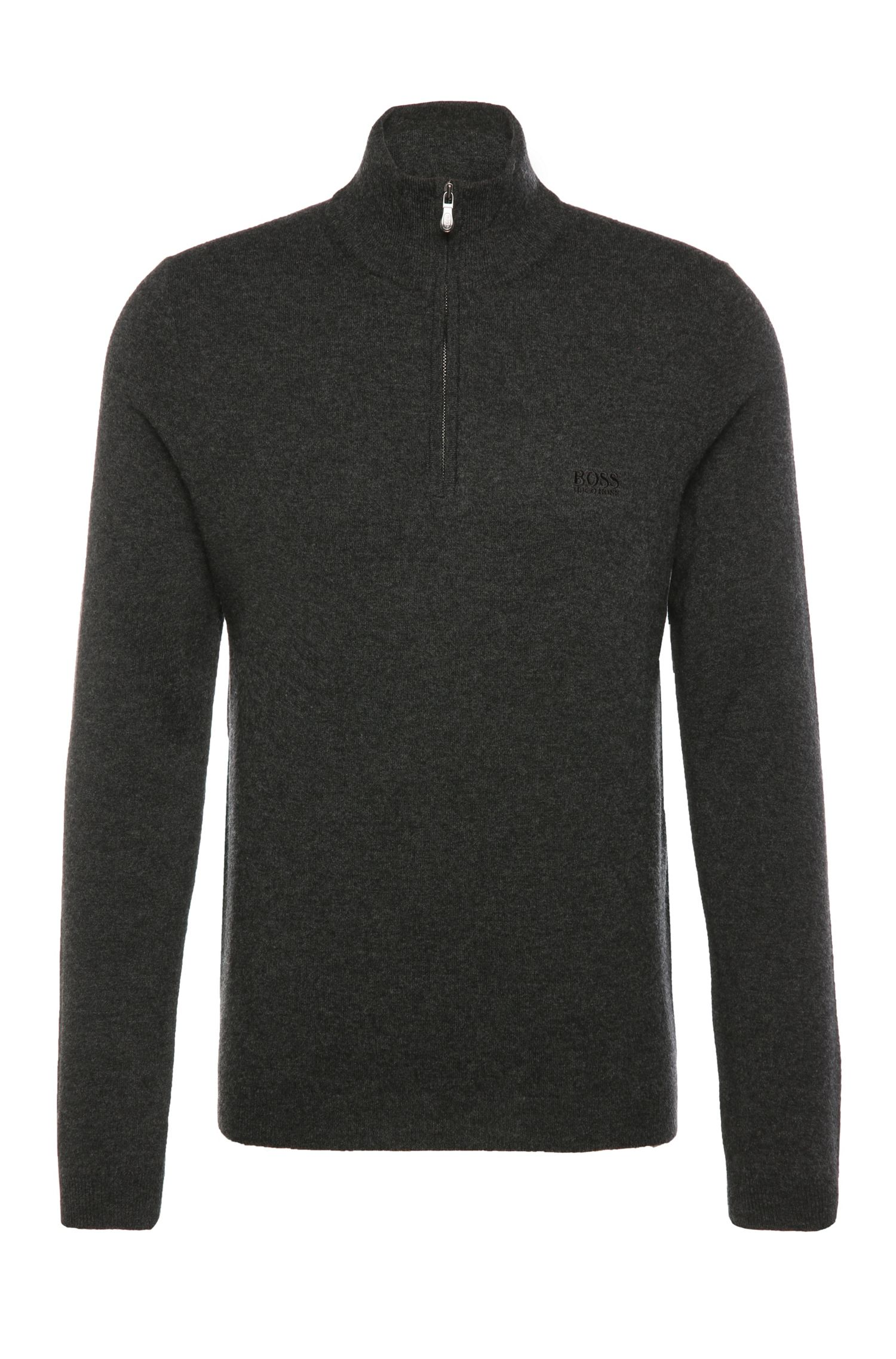 Regular-fit sweater in extra-fine new wool in Troyer style: 'C-Ceno_01'