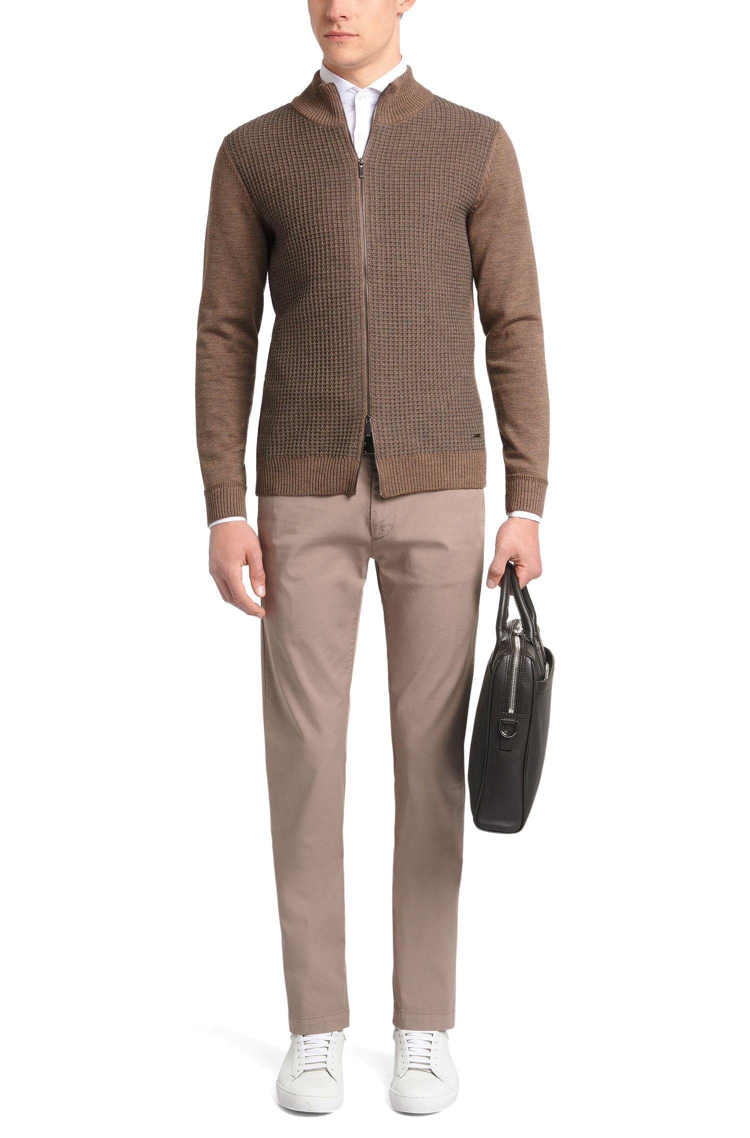 Regular-fit gebreid vest van scheerwol met dessin op de voorkant: 'Bacco'
