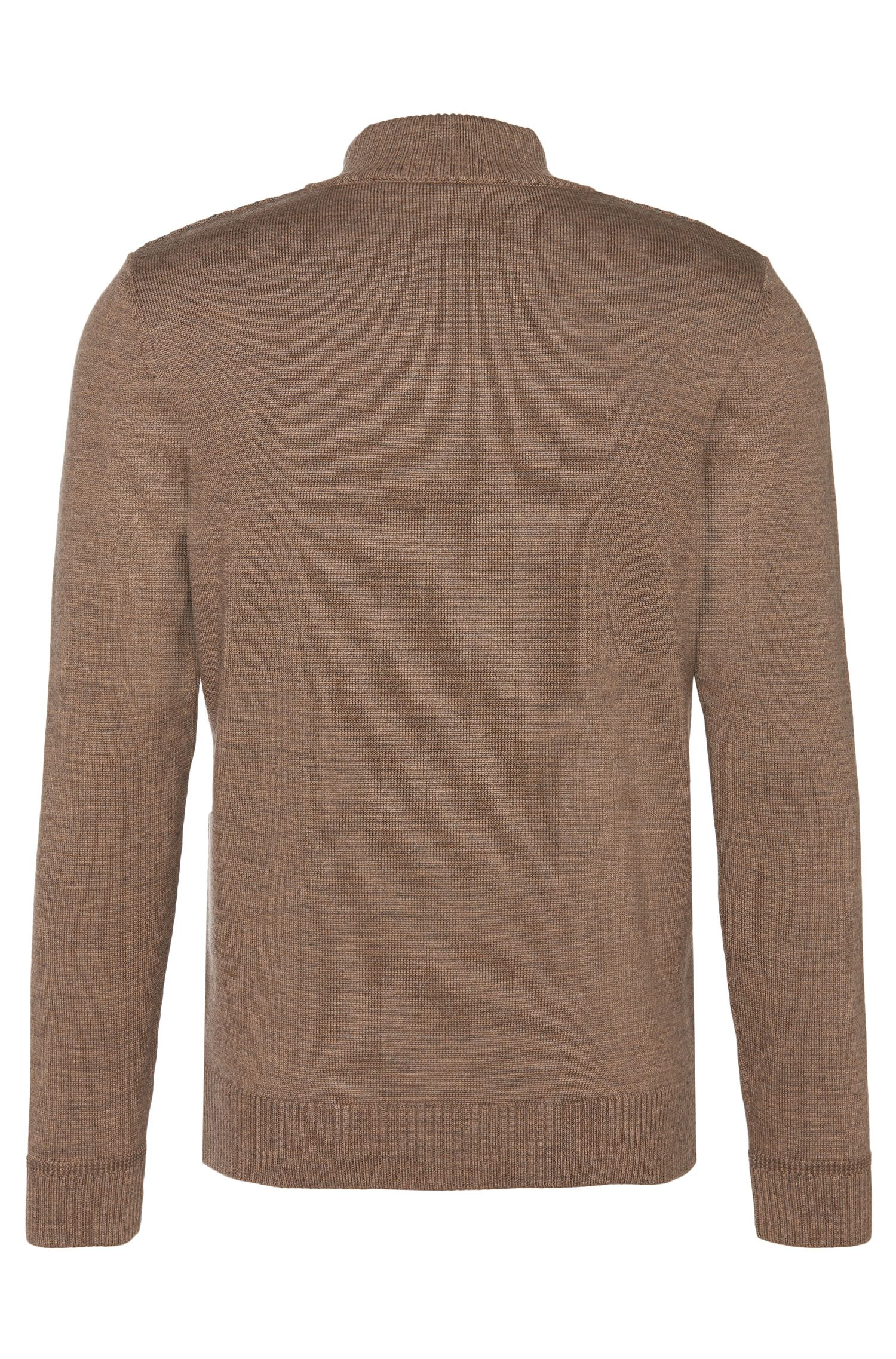 Veste en maille Regular Fit en laine vierge ornée d'un motif sur le devant: «Bacco»