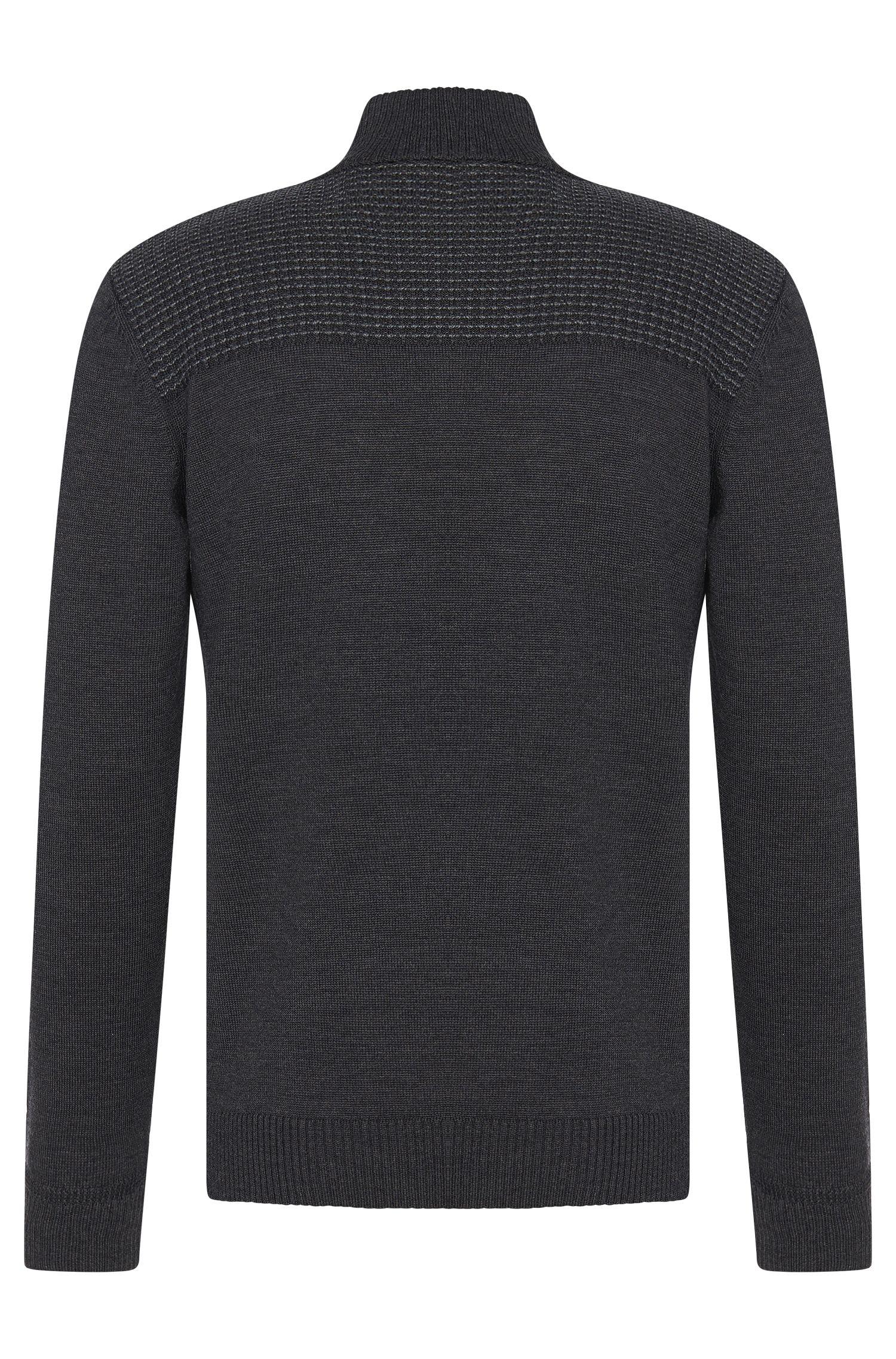 Pull Regular Fit en laine vierge pourvu d'une courte patte de boutonnage: «Balcos»