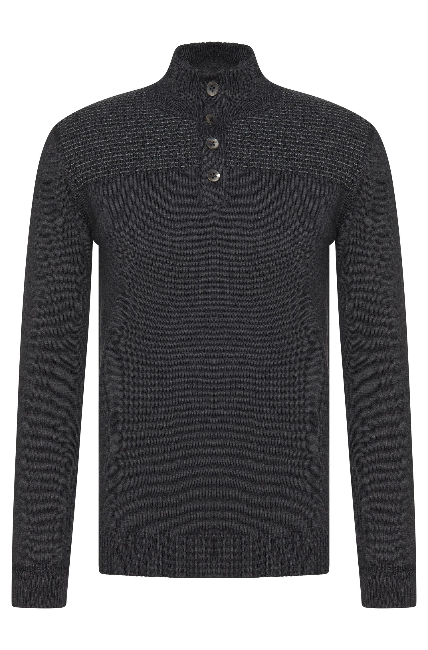 Regular-fit sweater in new wool with short button placket: 'Balcos'